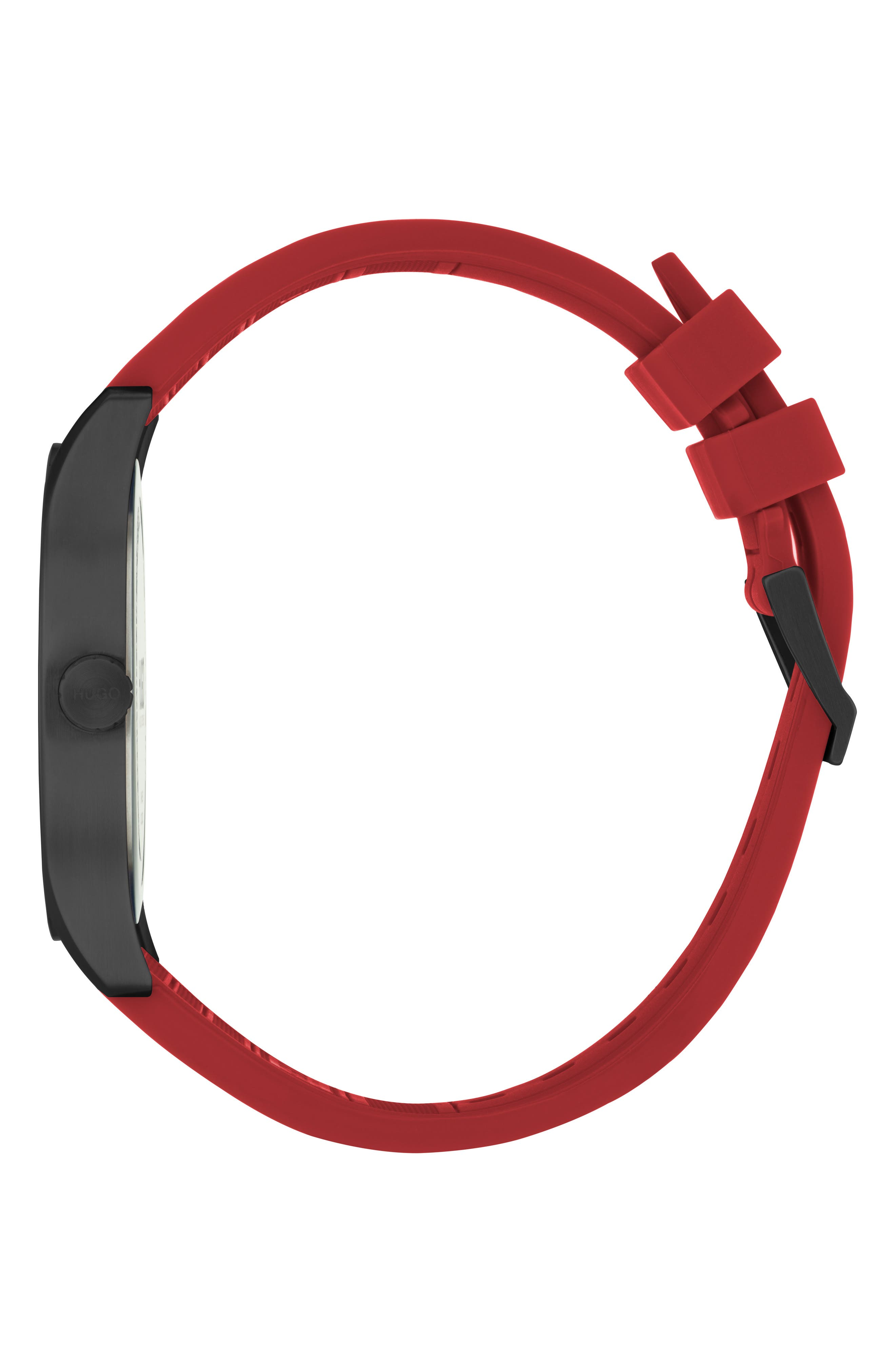 Silicone Strap Watch, 42mm,                             Alternate thumbnail 3, color,                             BLACK