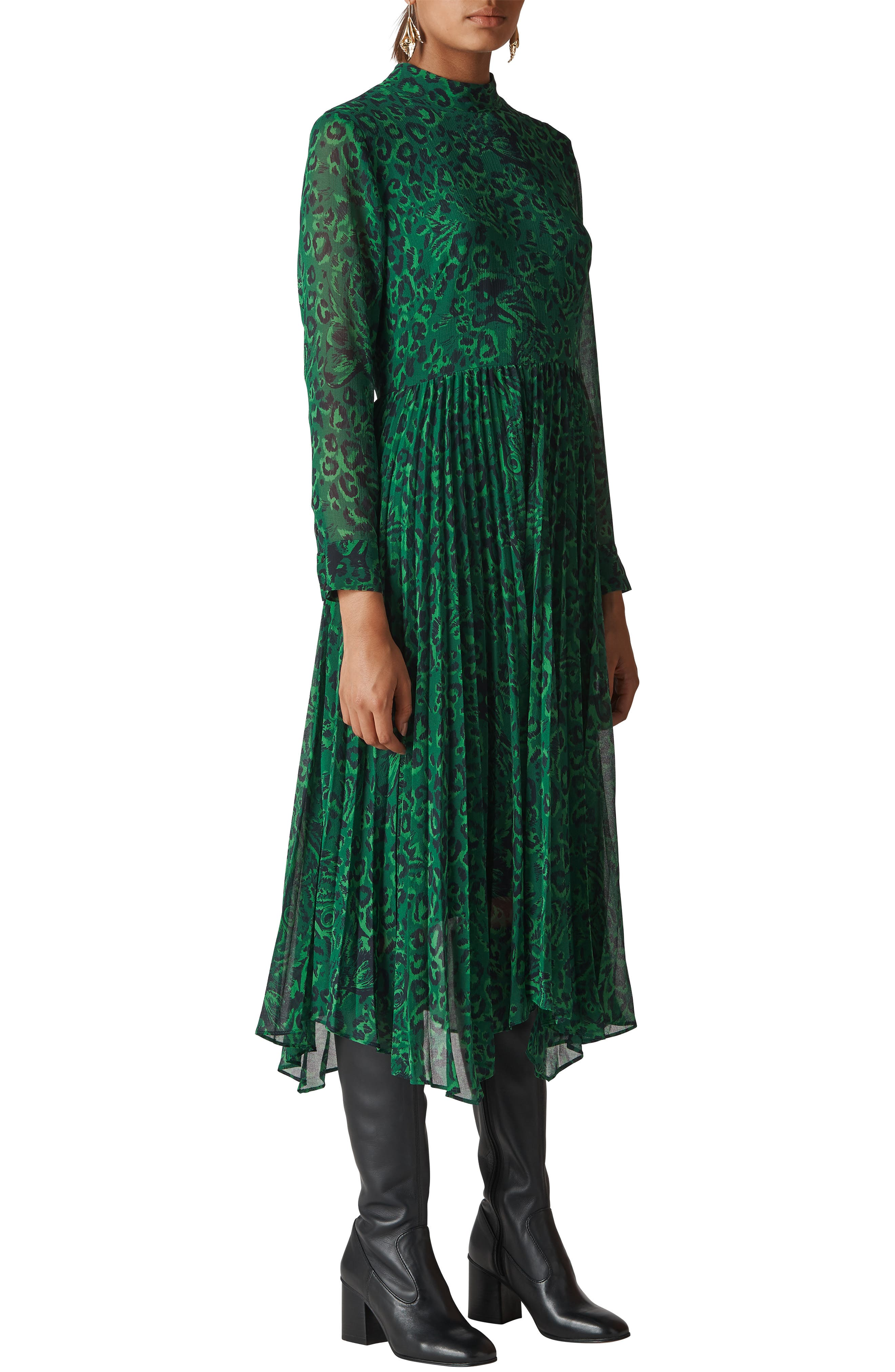 Jungle Cat Pleated Dress in Green/ Multi