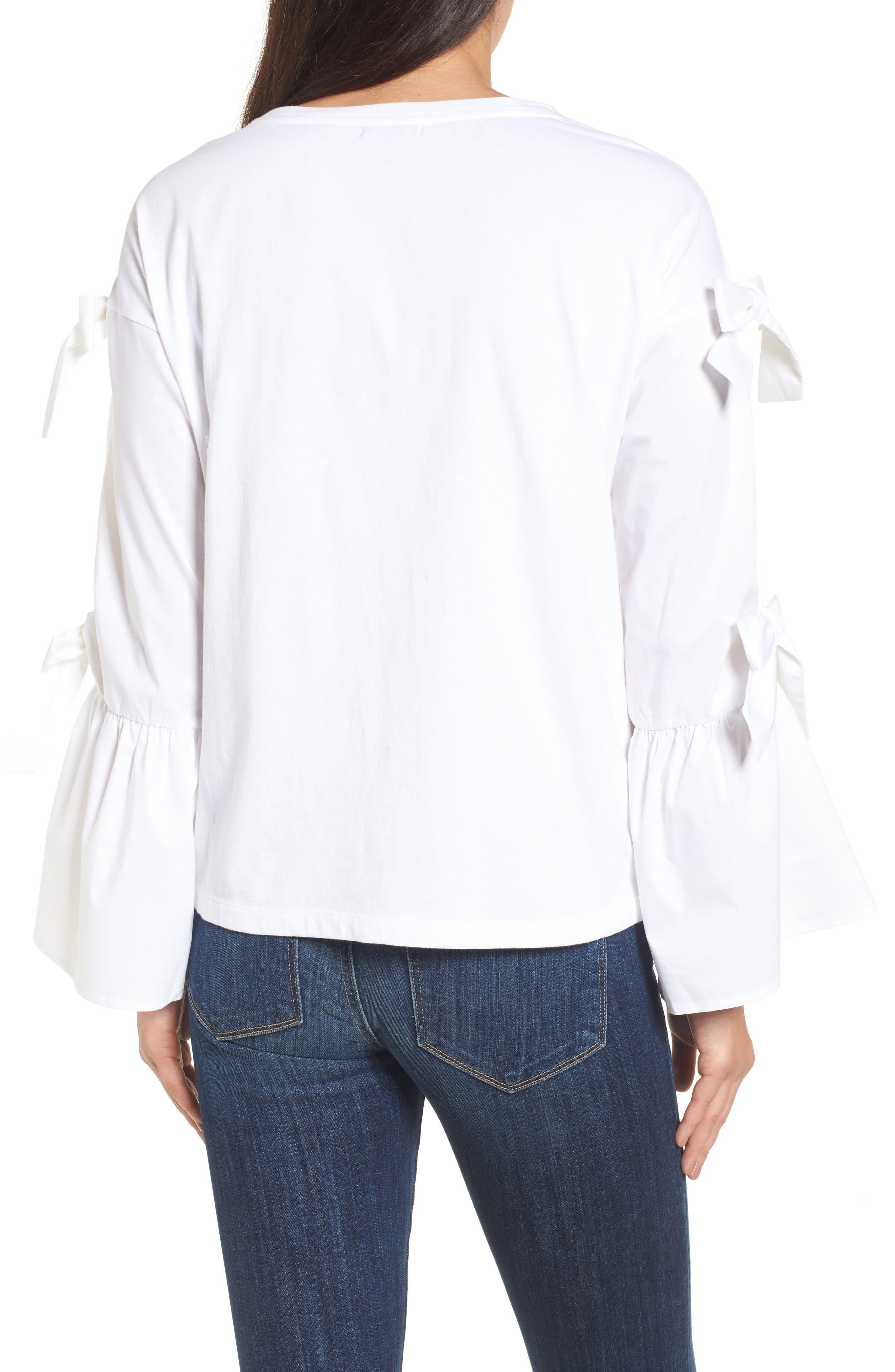 Bow Sleeve Poplin Cotton Top,                             Alternate thumbnail 2, color,                             100