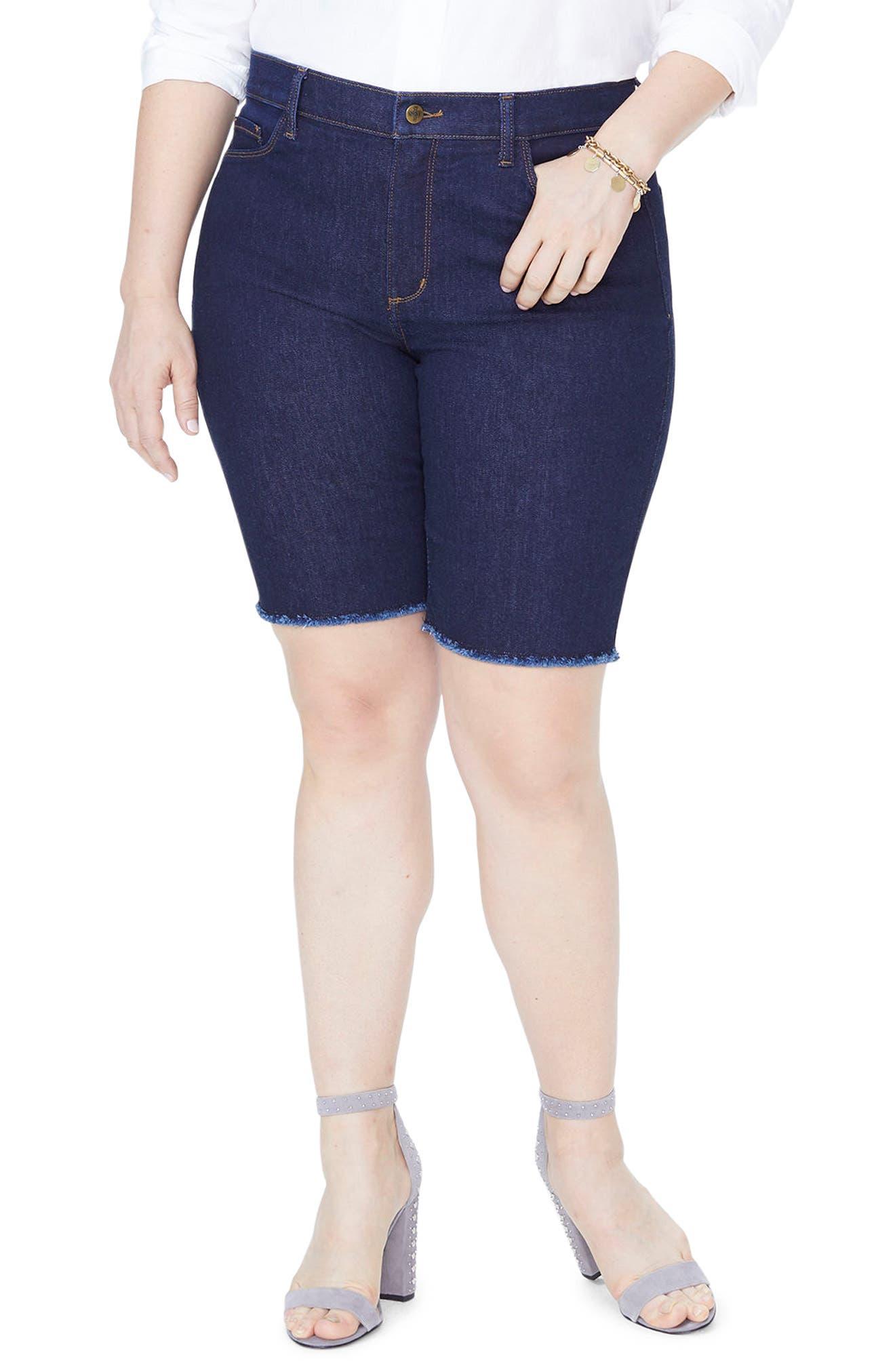 Briella Fray Hem Denim Bermuda Shorts,                         Main,                         color,