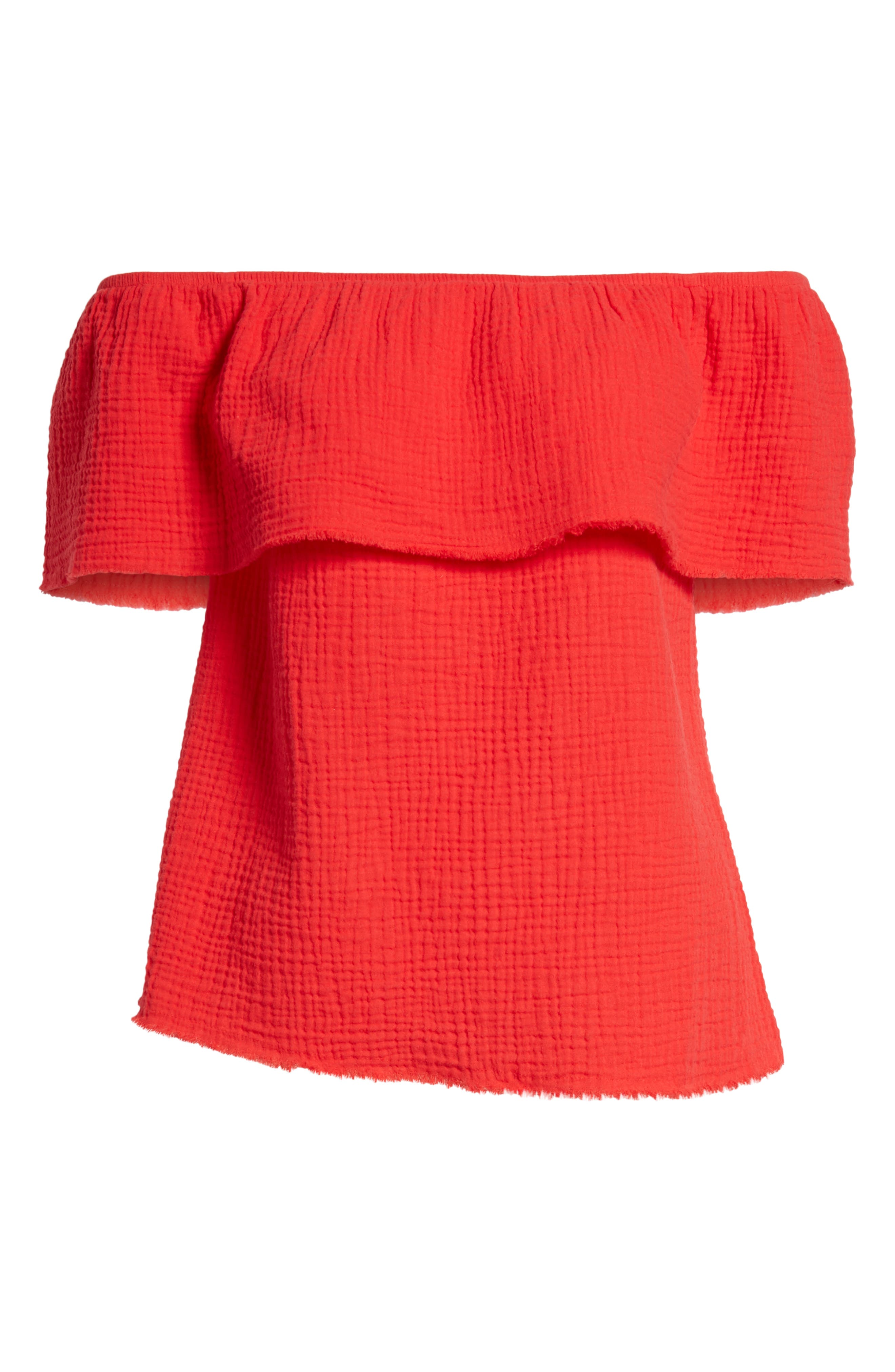 Ruffle Off the Shoulder Top,                             Alternate thumbnail 18, color,