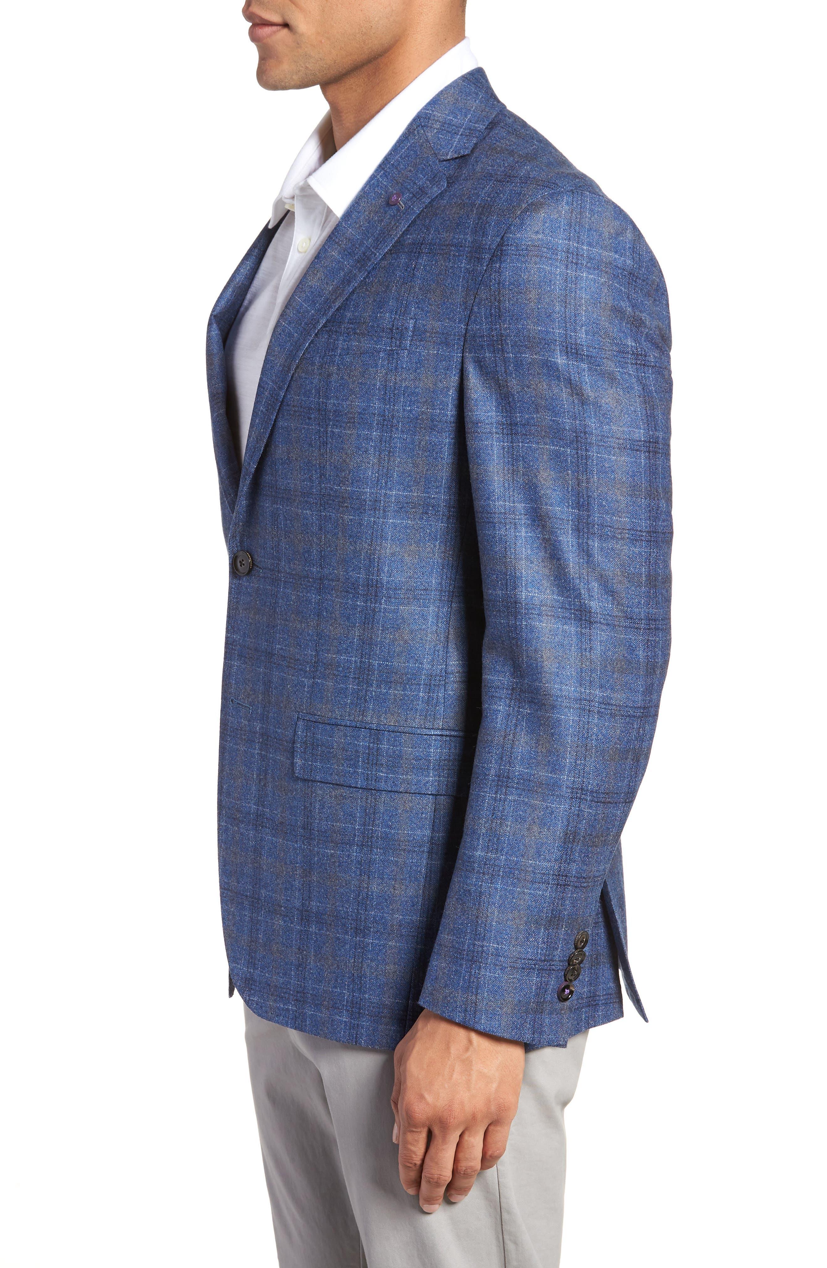 Konan Trim Fit Plaid Wool Sport Coat,                             Alternate thumbnail 3, color,                             BLUE