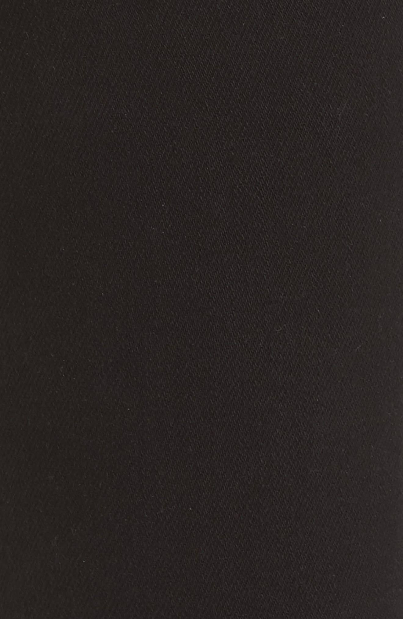 Highline High Waist Fray Hem Skinny Jeans,                             Alternate thumbnail 5, color,                             SATURATED BLACK DESTRUCT