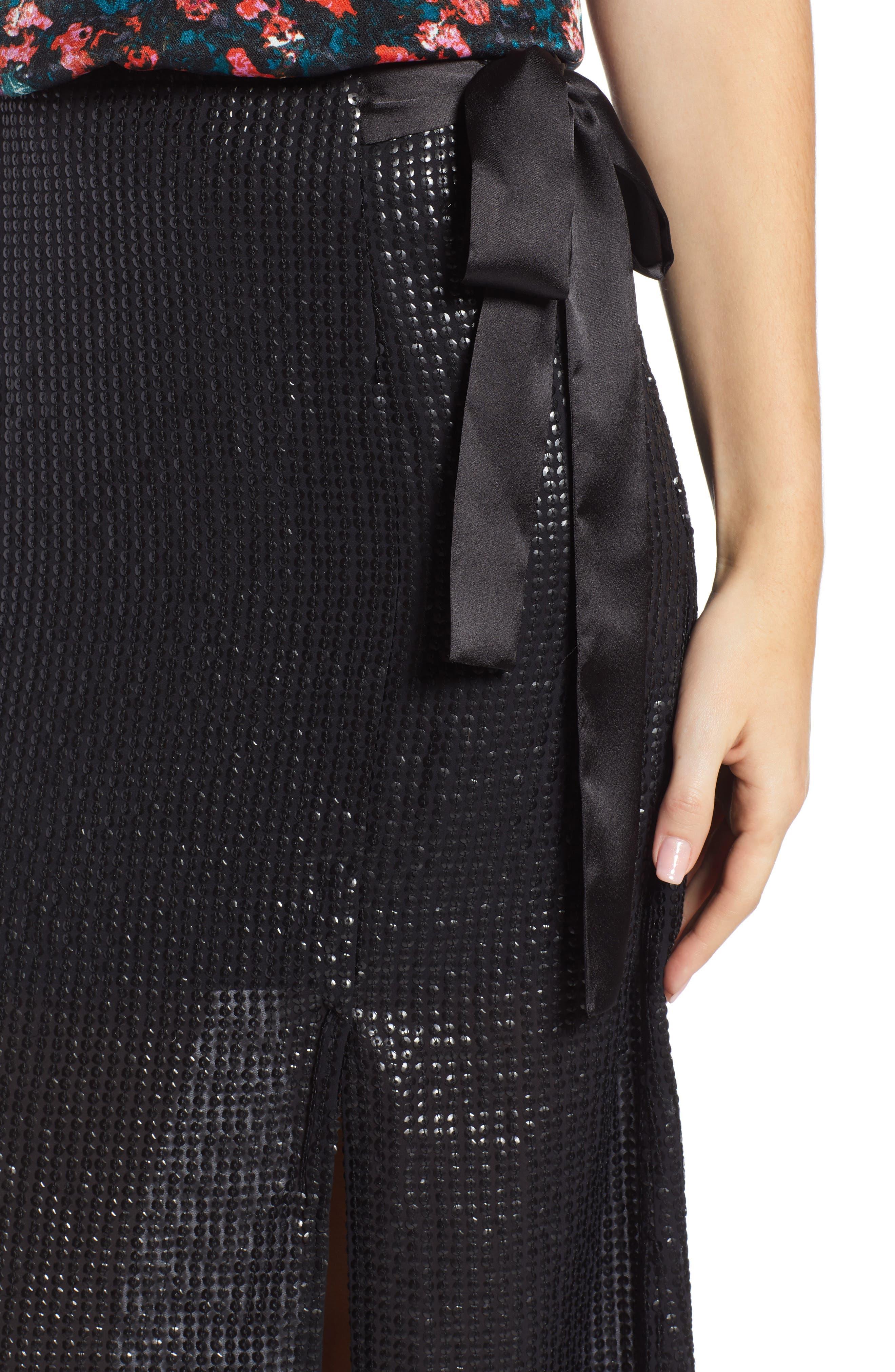 Wrap Sequin Midi Skirt,                             Alternate thumbnail 4, color,                             BLACK SEQUIN