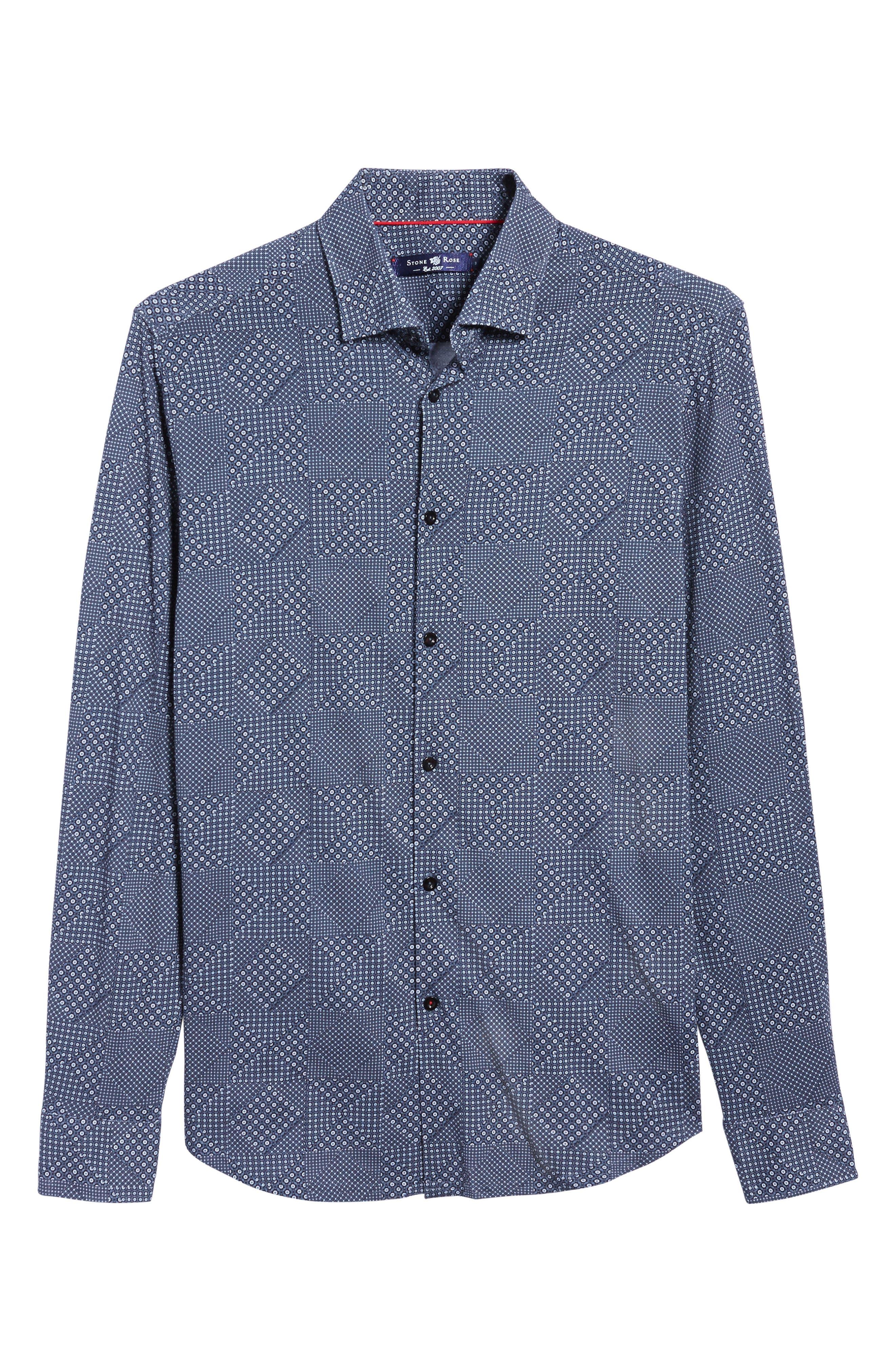 Slim Fit Patchwork Print Knit Sport Shirt,                             Alternate thumbnail 6, color,                             001