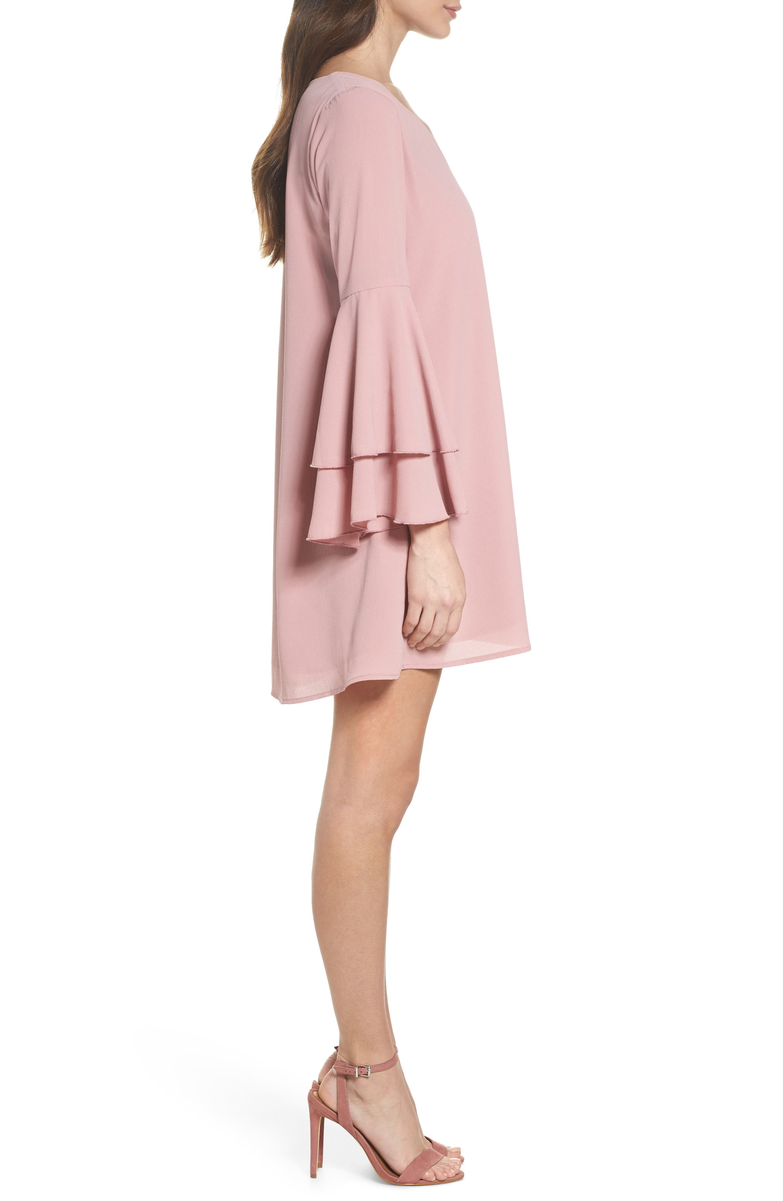 Bell Sleeve Dress,                             Alternate thumbnail 3, color,                             681
