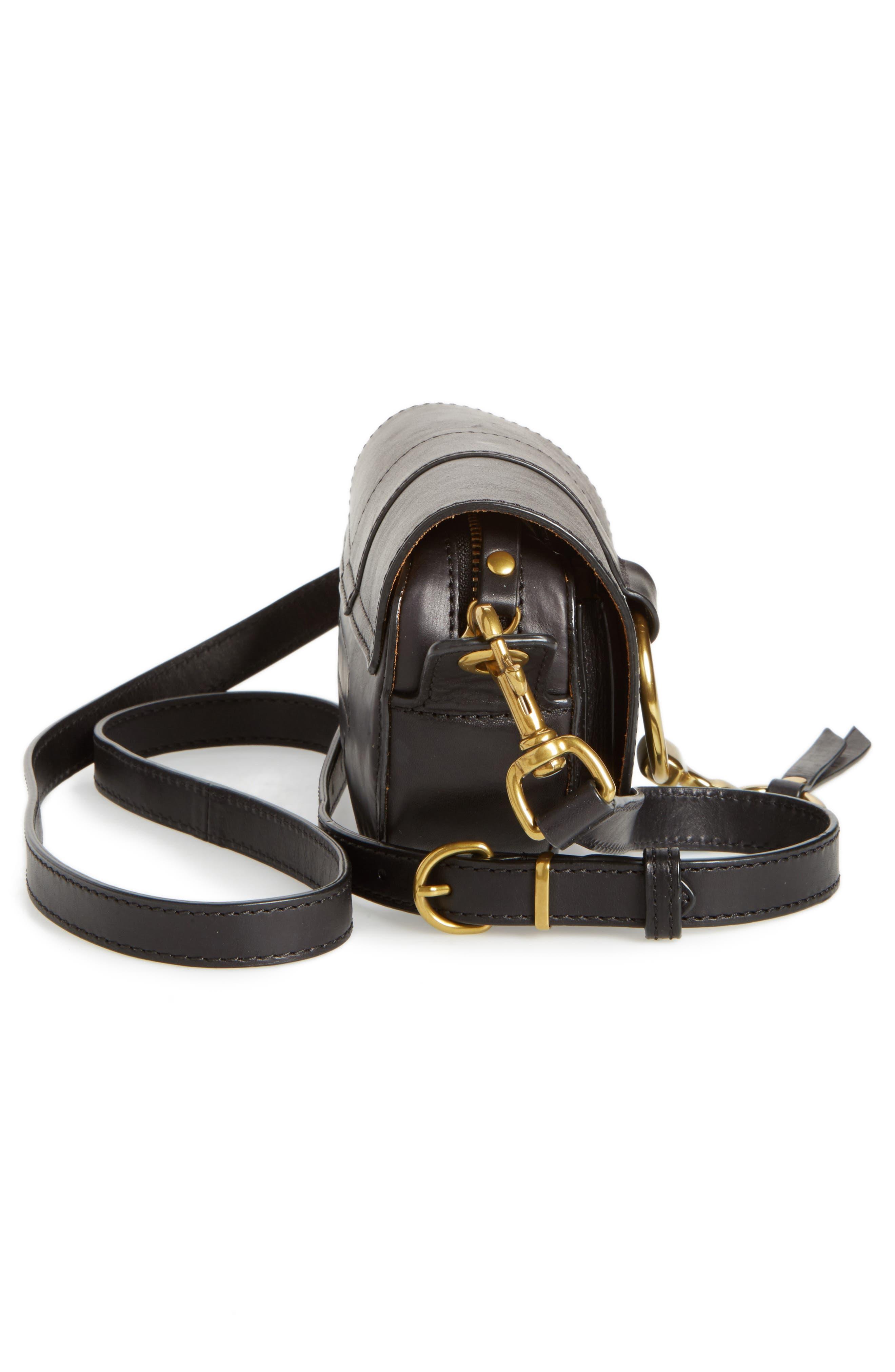 Mini Ilana Harness Leather Saddle Bag,                             Alternate thumbnail 5, color,                             001