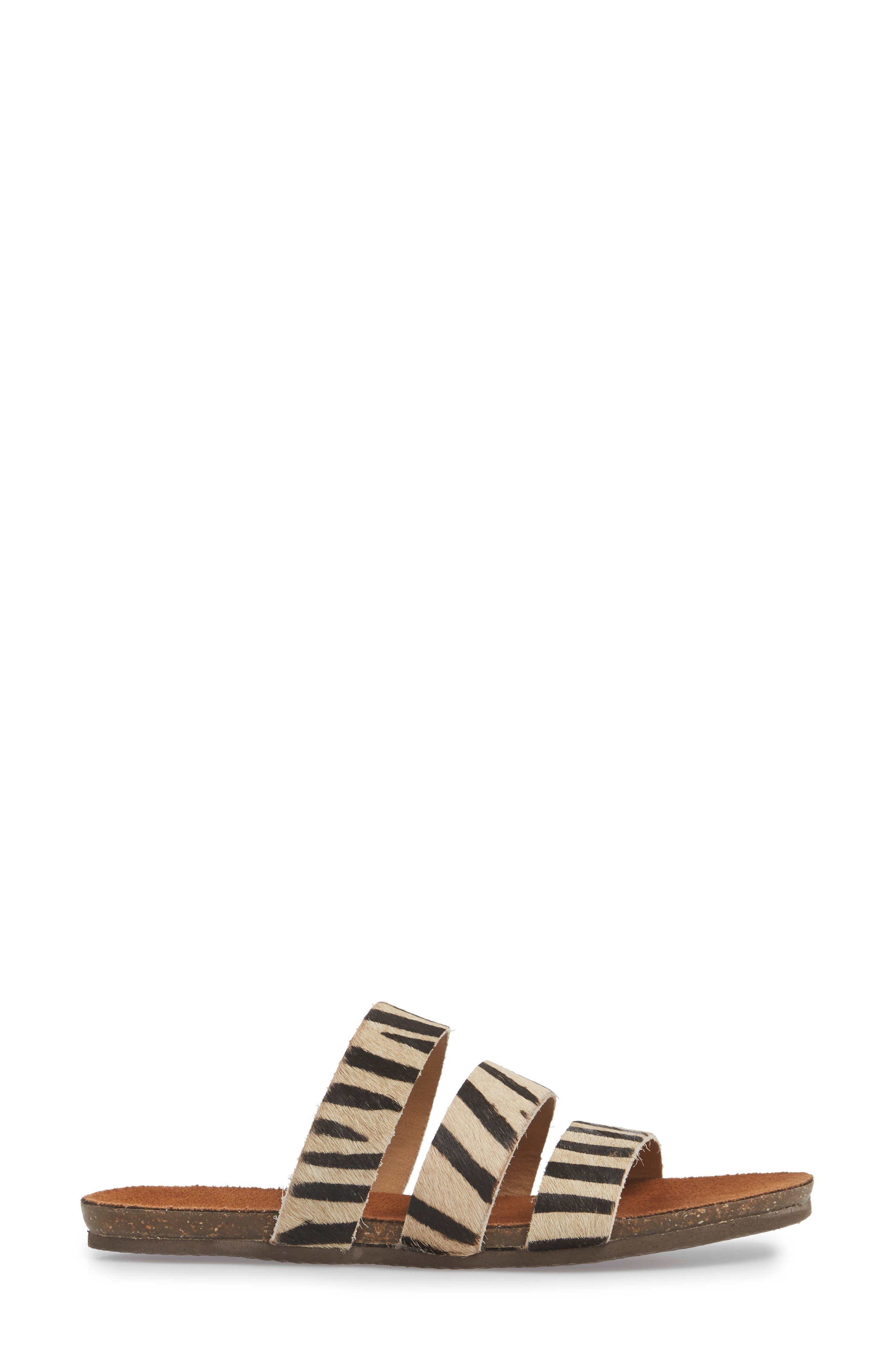 Florence Slide Sandal,                             Alternate thumbnail 3, color,                             ZEBRA CALF HAIR