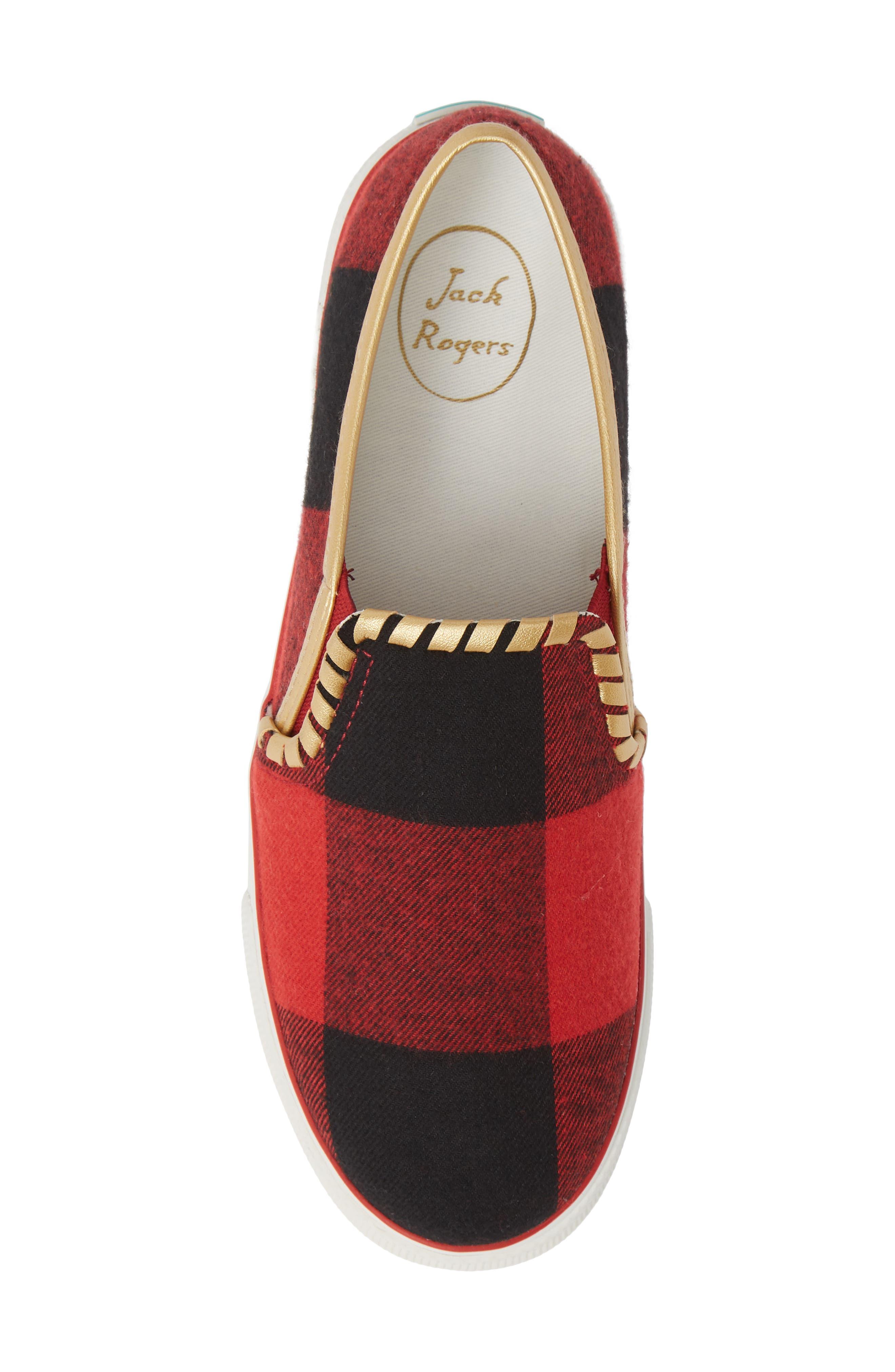 Brynne Slip-On Sneaker,                             Alternate thumbnail 5, color,                             RED/ BLACK FABRIC
