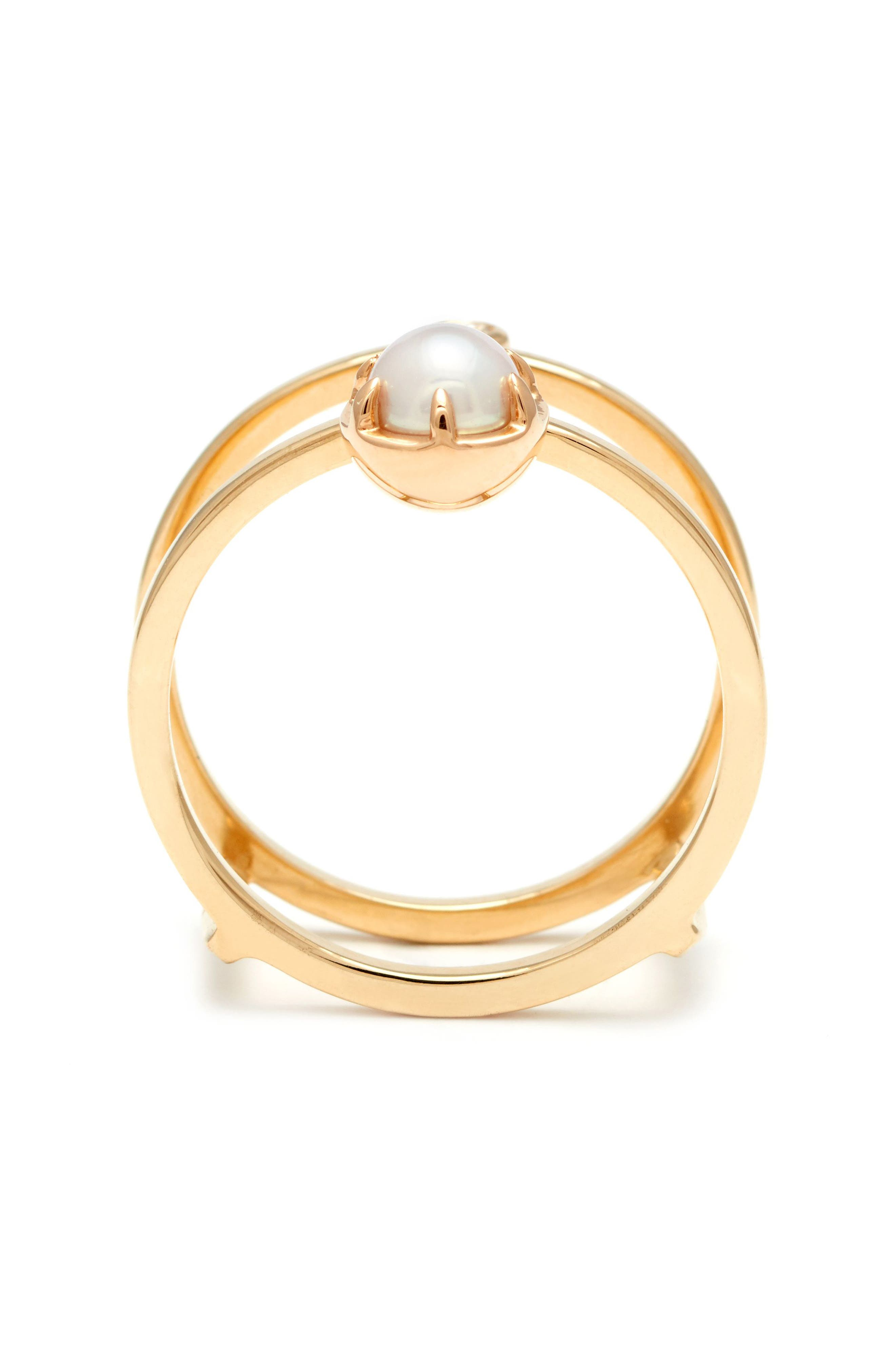 'Reverse Attelage' Double Band Pearl & Diamond Ring,                             Alternate thumbnail 2, color,                             YELLOW/ GOLD/ WHITE