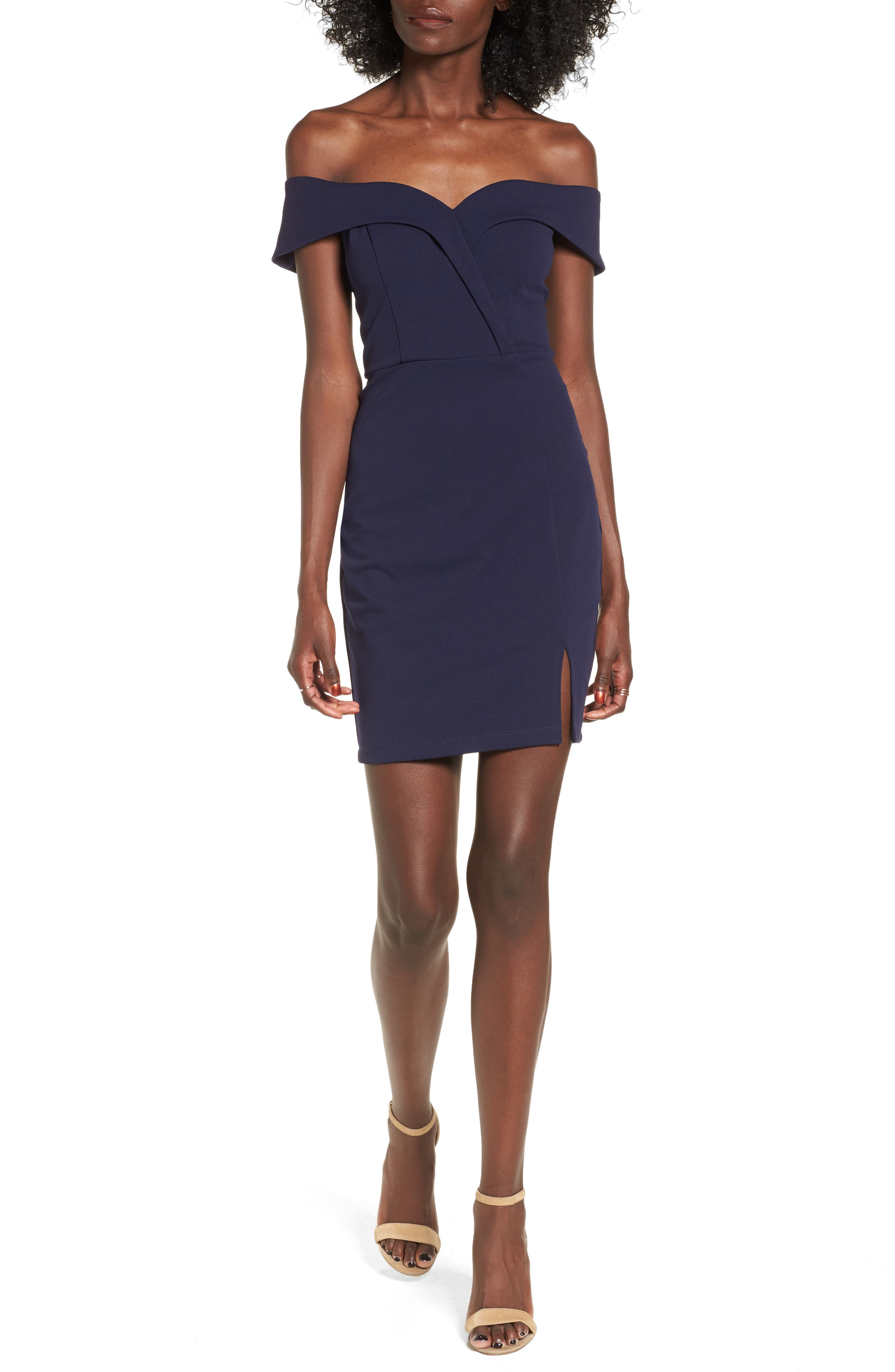 Speechless Off The Shoulder Body-Con Dress, Blue
