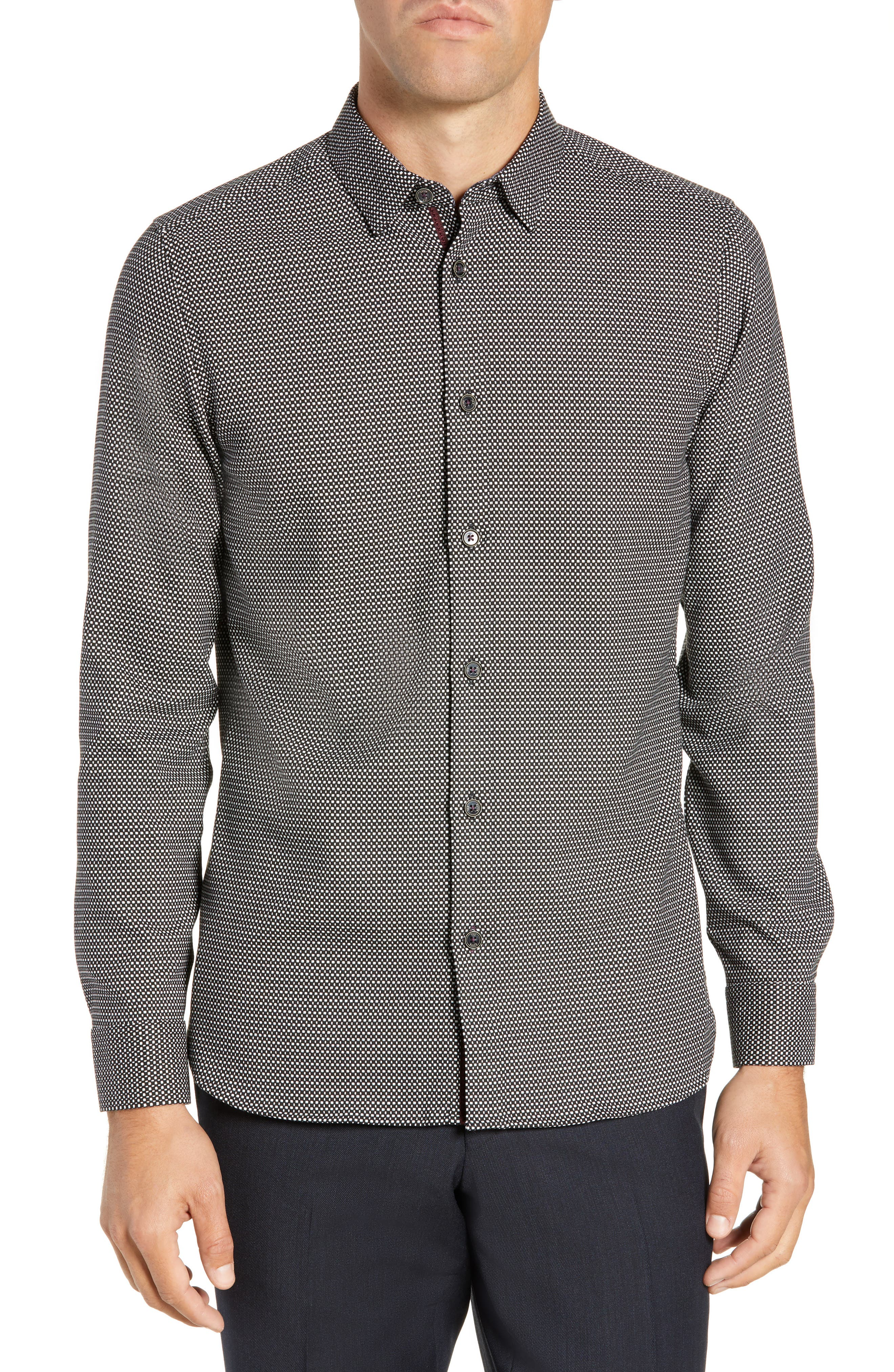 Wapping Slim Fit Textured Shirt,                         Main,                         color, BLACK