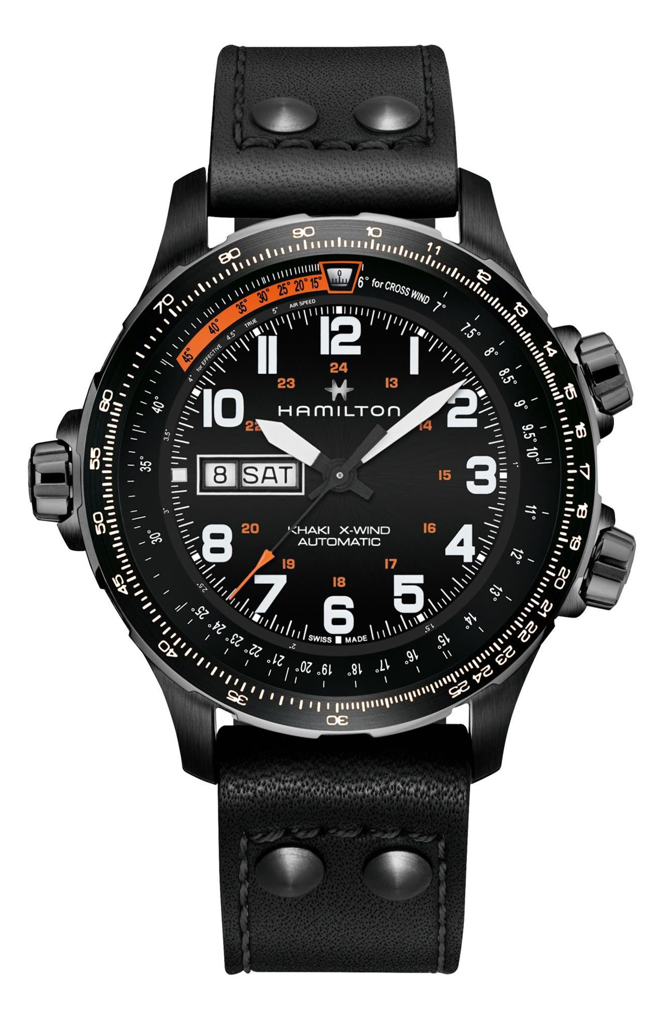 Khaki X-Wind Automatic Chronograph Leather Strap Watch, 45mm,                         Main,                         color, BLACK