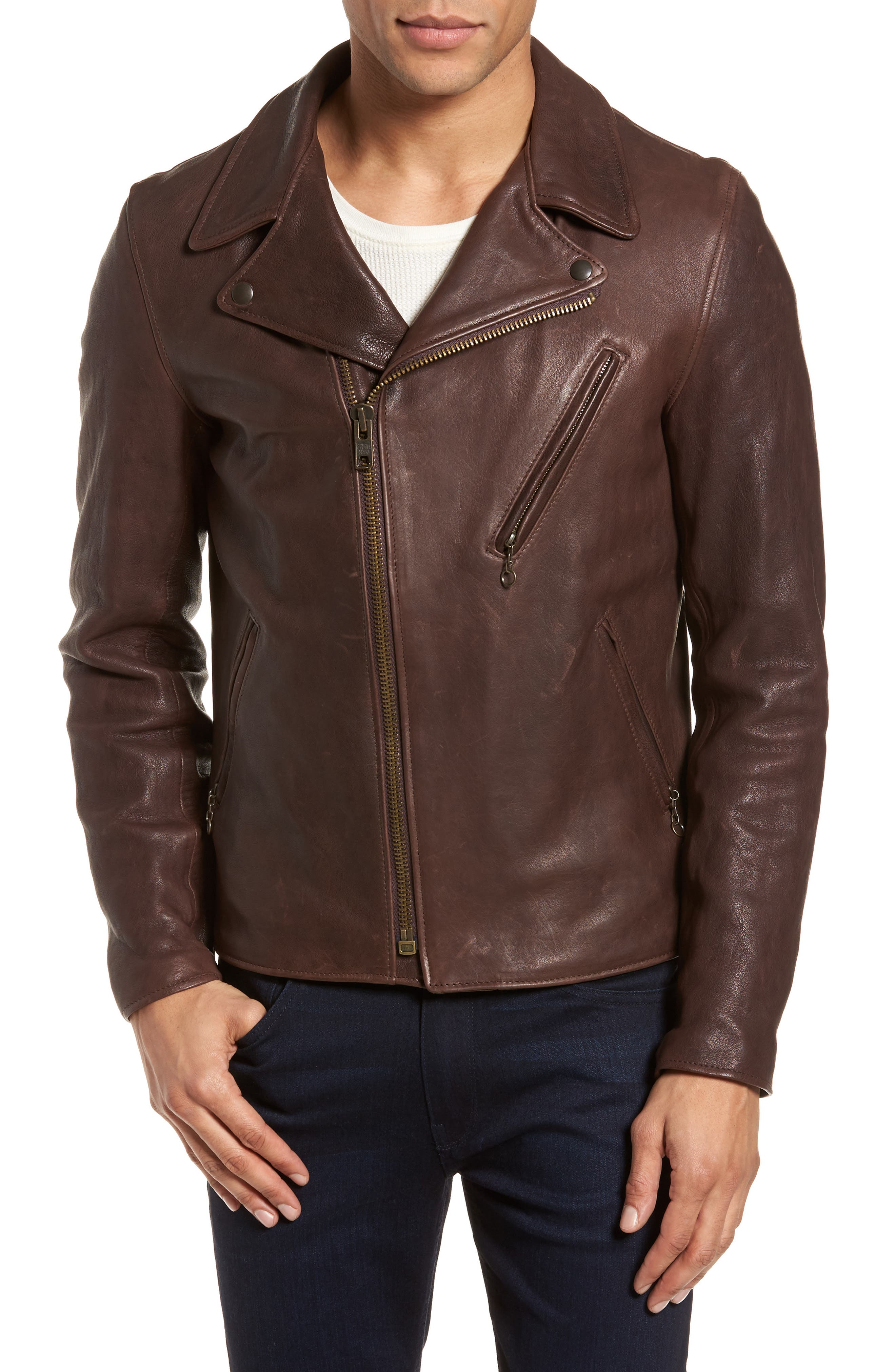 Leather Moto Jacket,                             Alternate thumbnail 4, color,                             BROWN