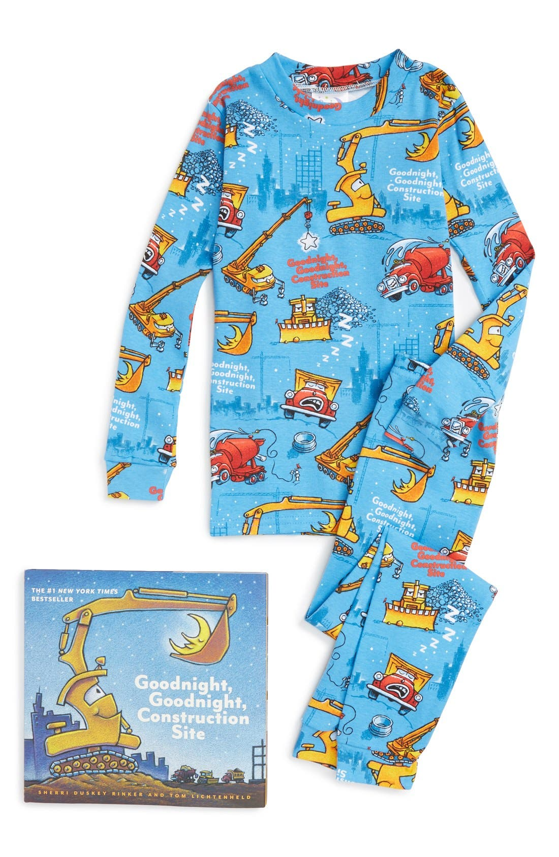 Goodnight Construction Site Fitted Two-Piece Pajamas & Book Set,                             Main thumbnail 1, color,