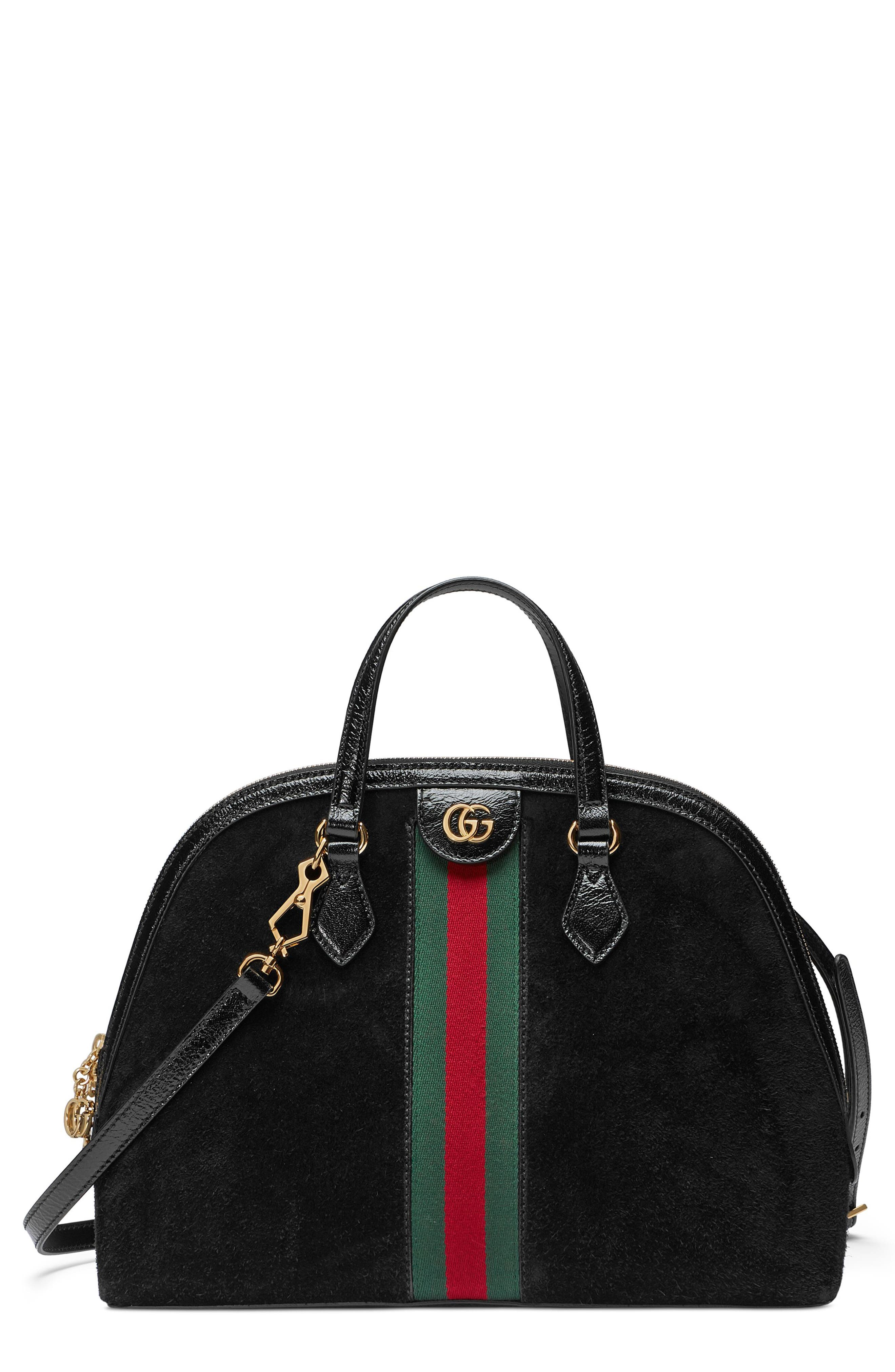 Ophidia Suede Dome Satchel,                             Main thumbnail 1, color,                             NERO/ NERO/ VERT RED VERT