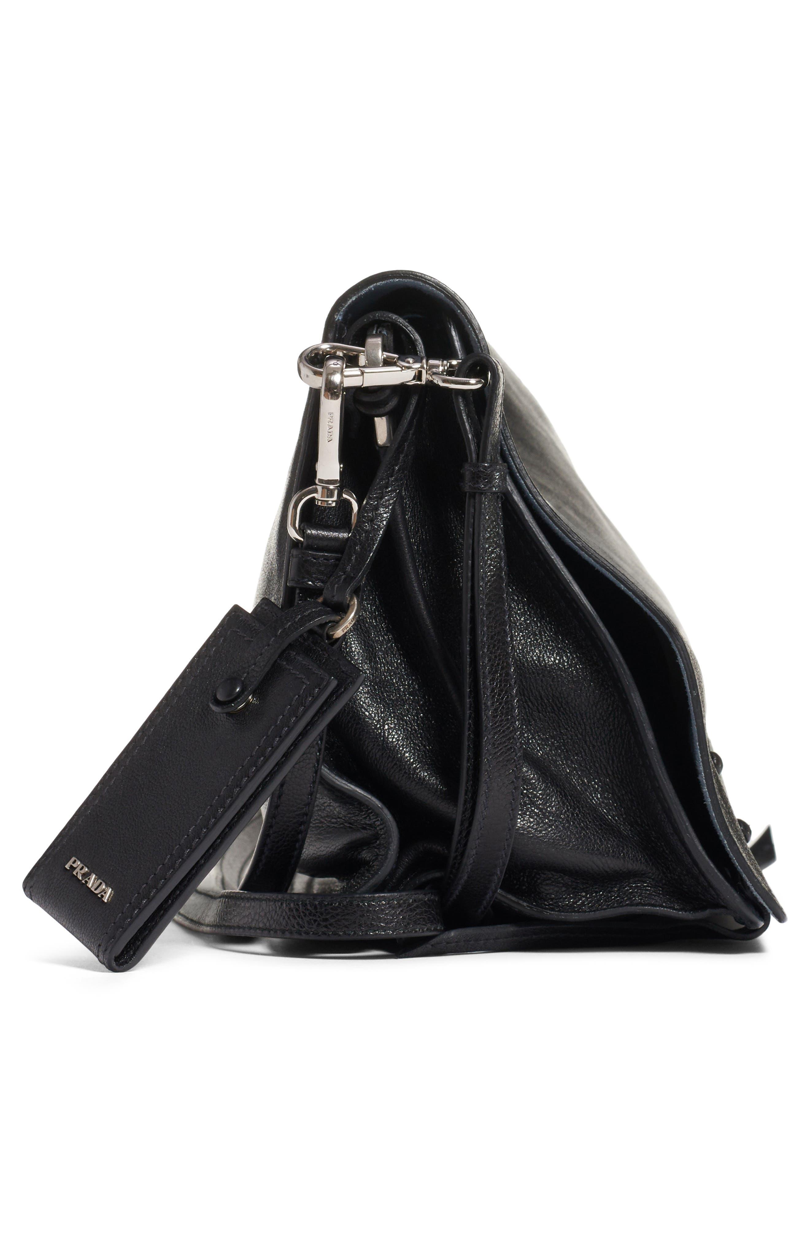 PRADA,                             Medium Etiquette Shoulder Bag,                             Alternate thumbnail 4, color,                             NERO/ ASTRALE