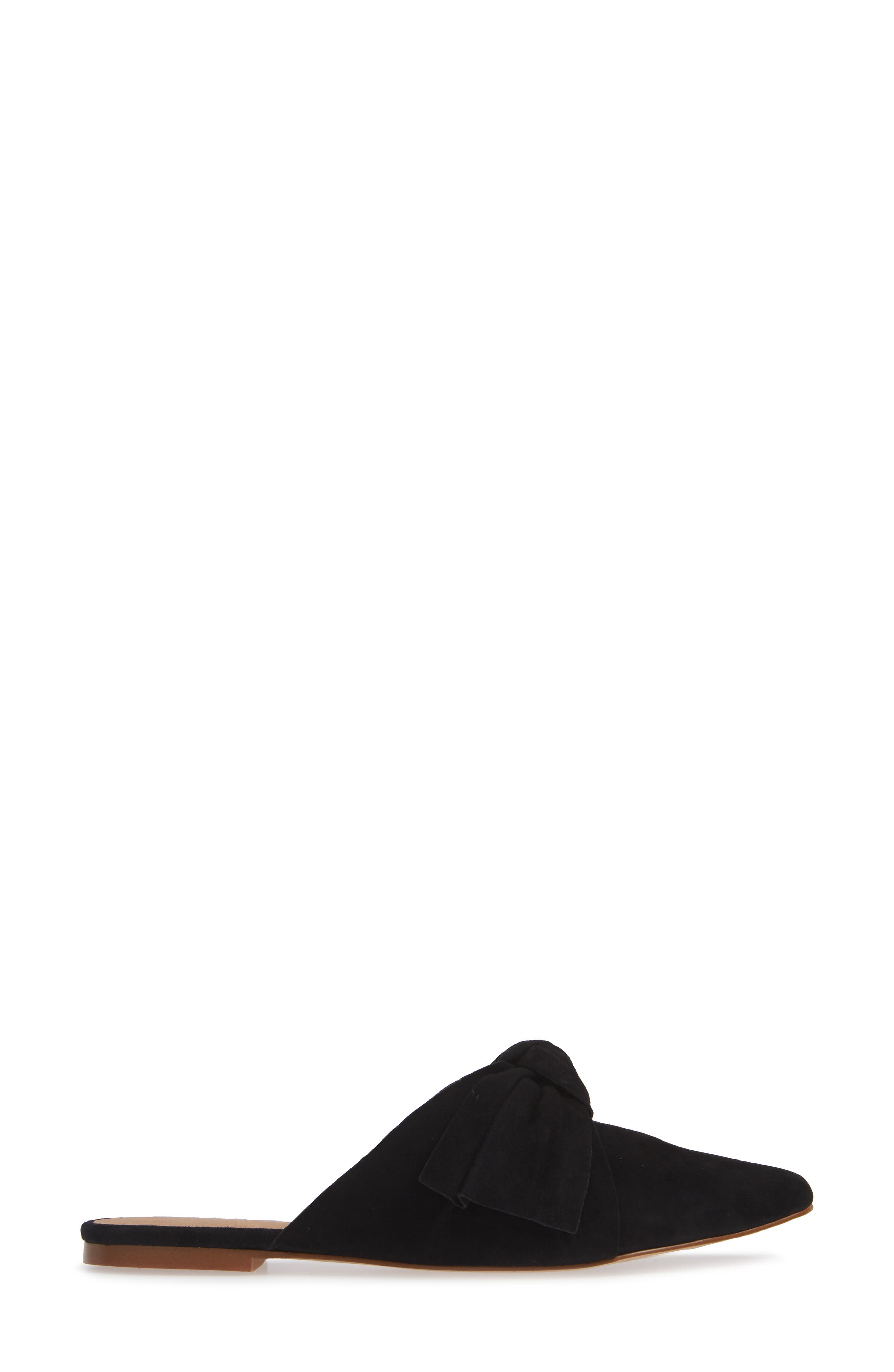 The Remi Bow Mule,                             Alternate thumbnail 3, color,                             TRUE BLACK SUEDE