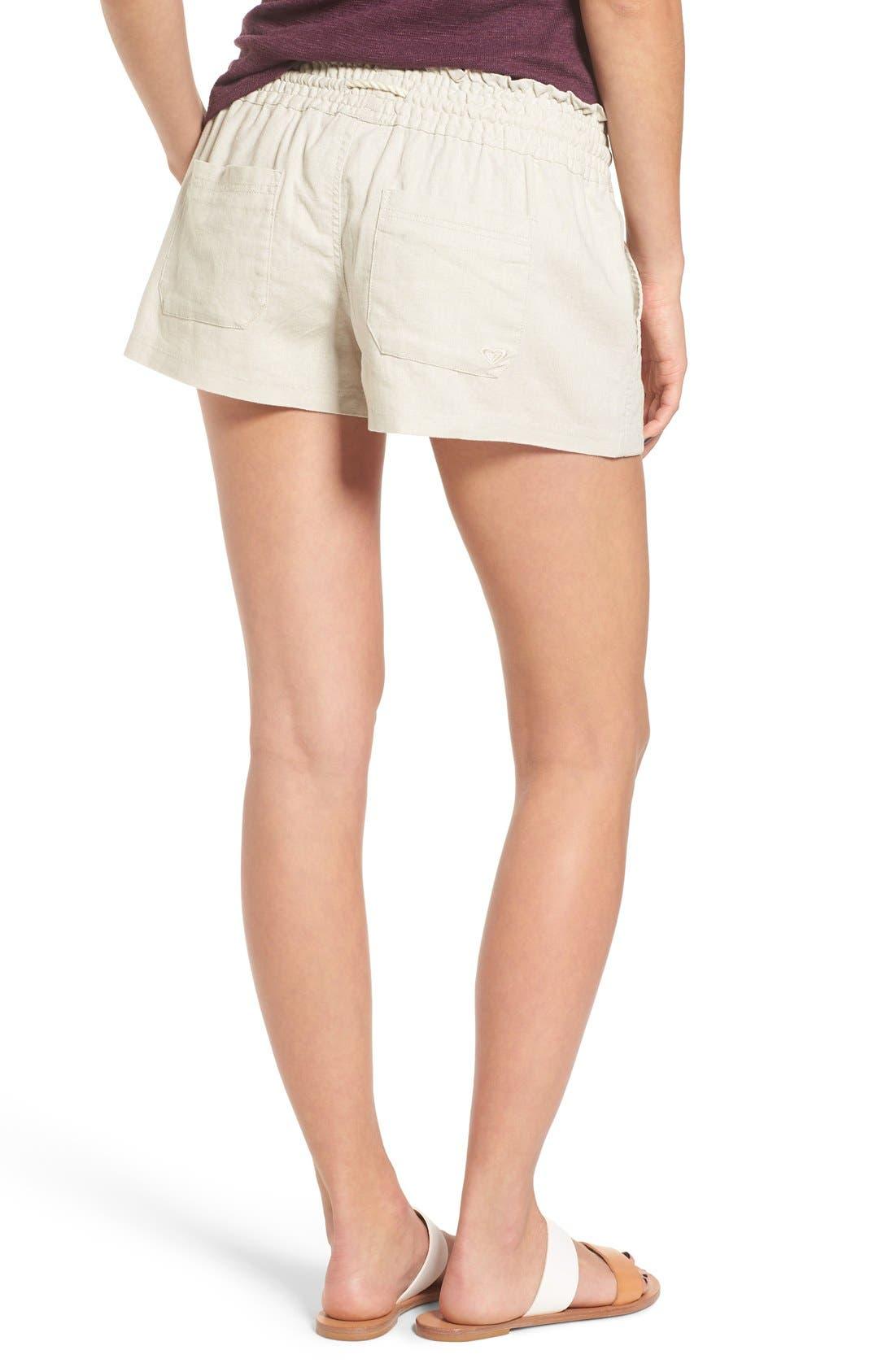 'Oceanside' Linen Blend Shorts,                             Alternate thumbnail 3, color,                             STONE