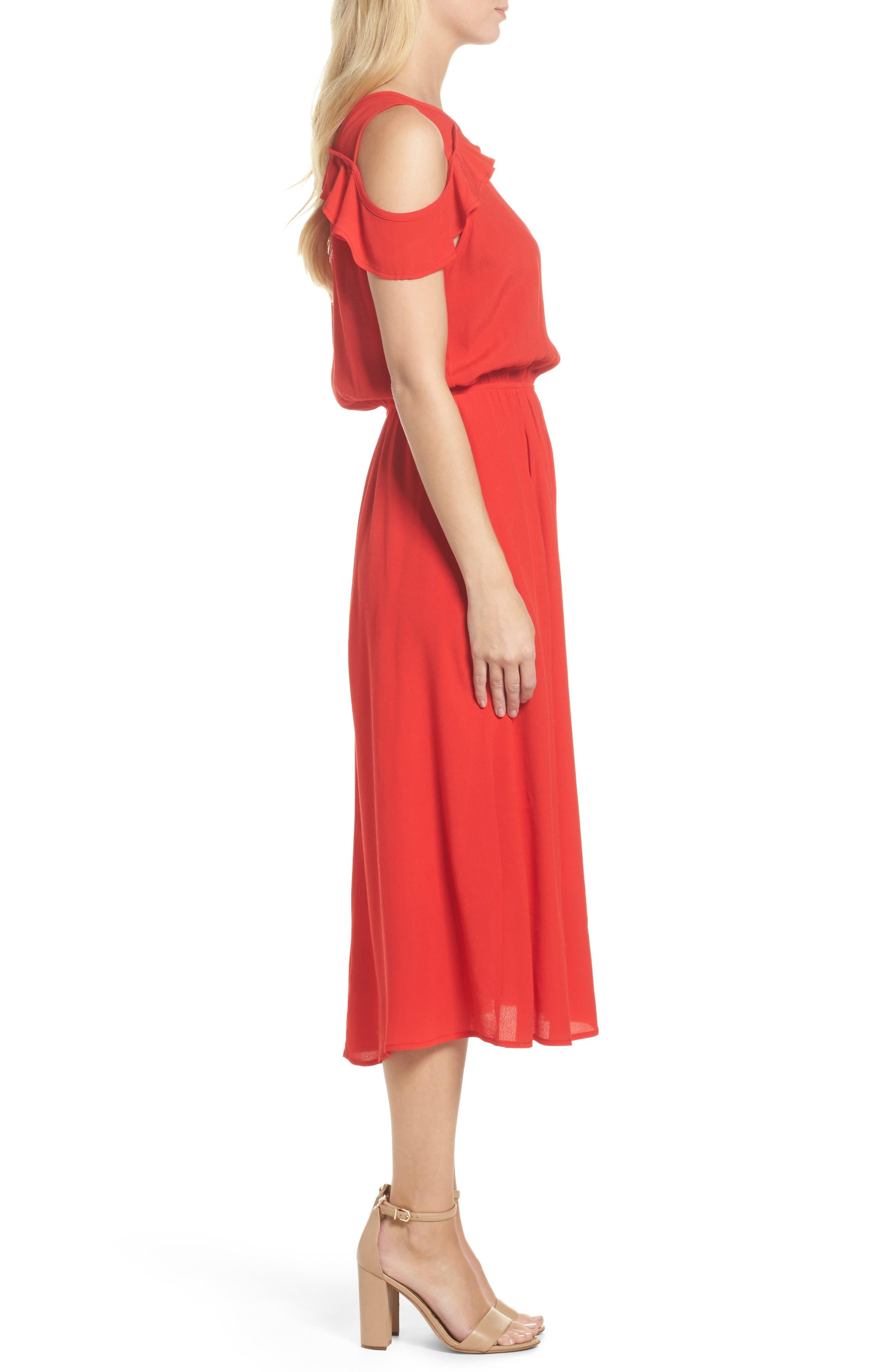 Cold Shoulder Midi Dress,                             Alternate thumbnail 3, color,                             600