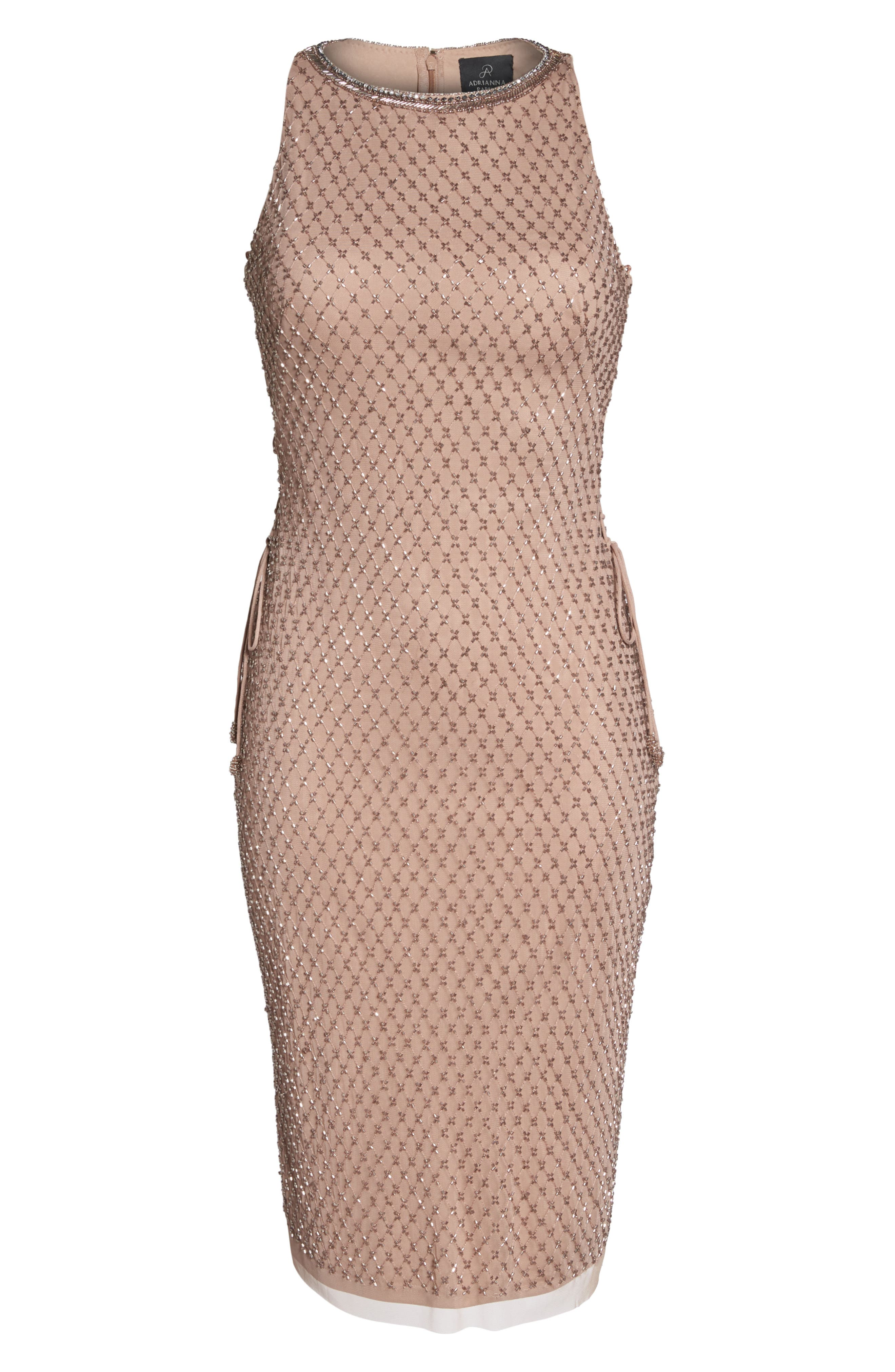 Beaded Lace-Up Dress,                             Alternate thumbnail 6, color,                             220