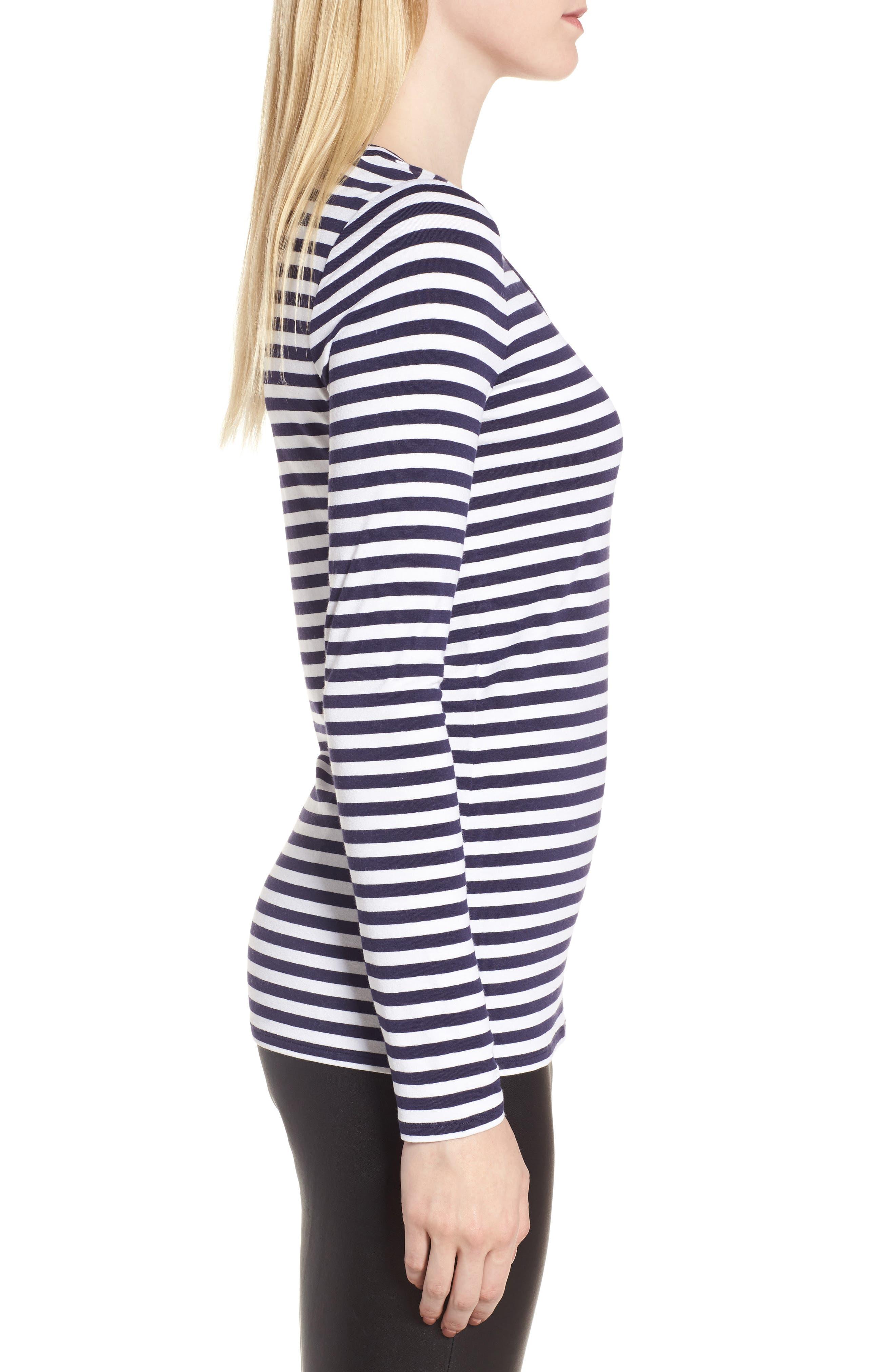 Stripe Long Sleeve Tee,                             Alternate thumbnail 3, color,                             410