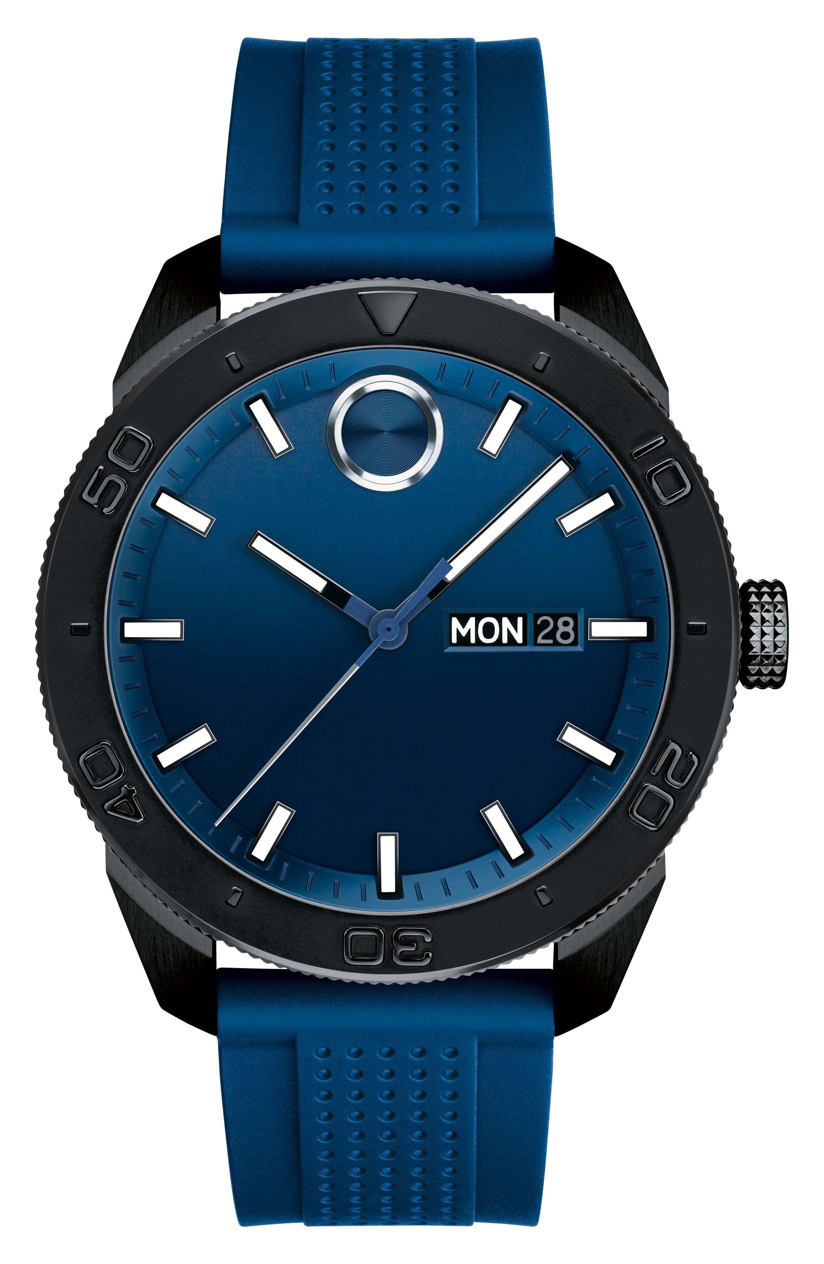 Bold Sport Silicone Strap Watch, 43mm,                             Main thumbnail 1, color,                             BLUE/ BLACK
