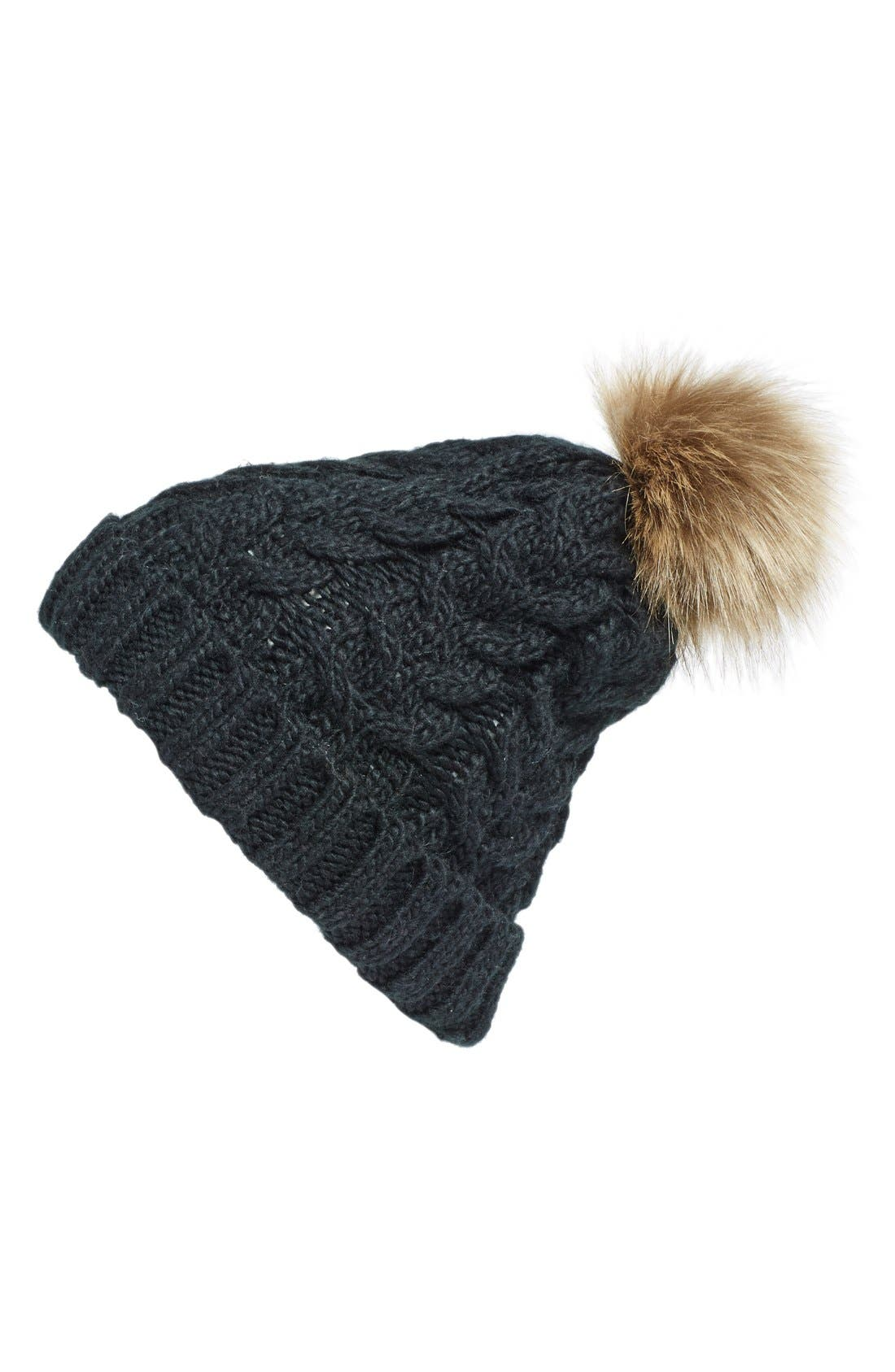 Knit Beanie with Faux Fur Pompom,                             Main thumbnail 2, color,