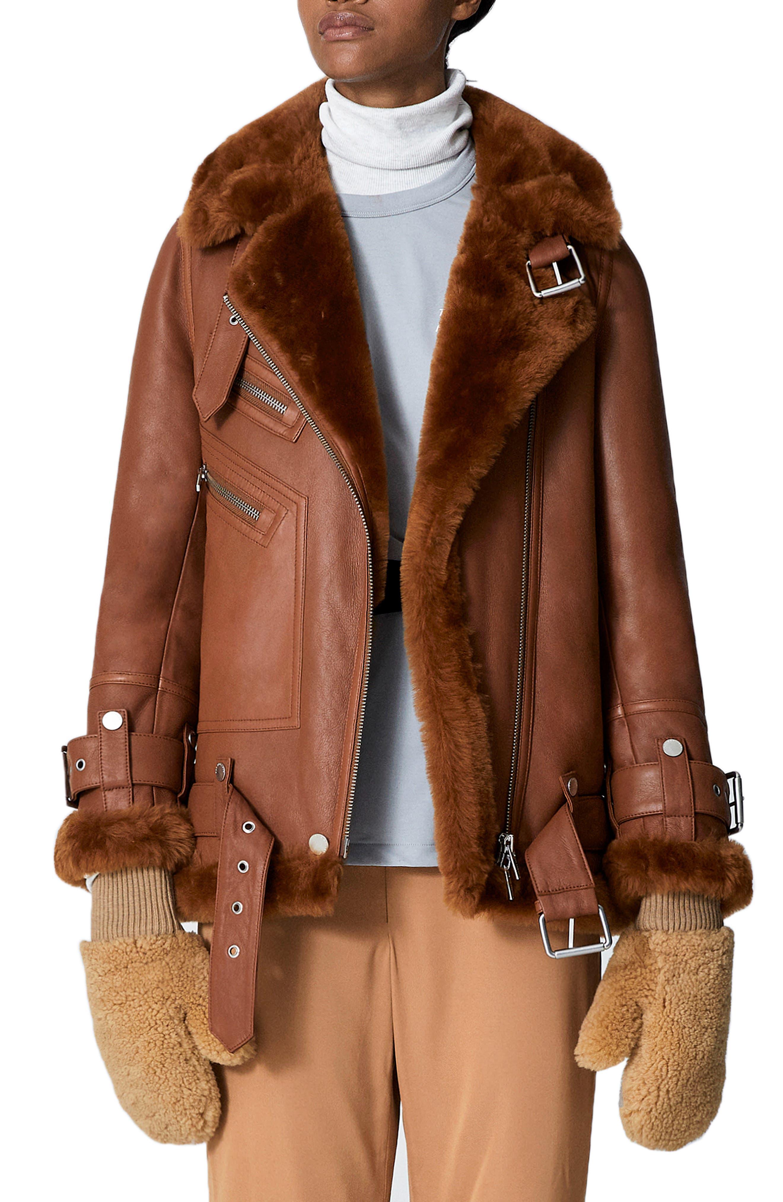 THE ARRIVALS Moya Iii Oversize Leather & Genuine Shearling Jacket in Terra