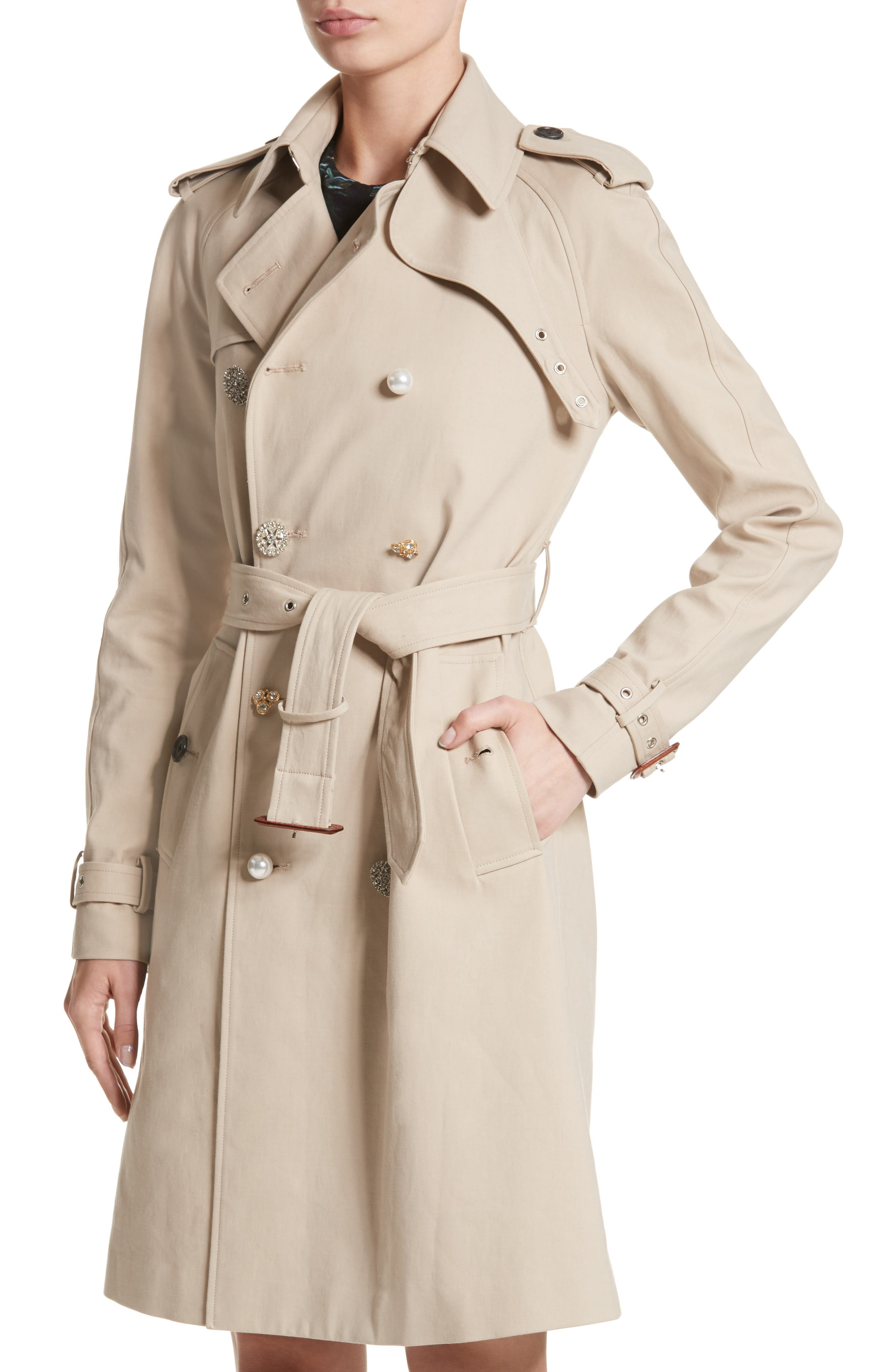 Embellished Button Trench Coat,                             Alternate thumbnail 4, color,                             250