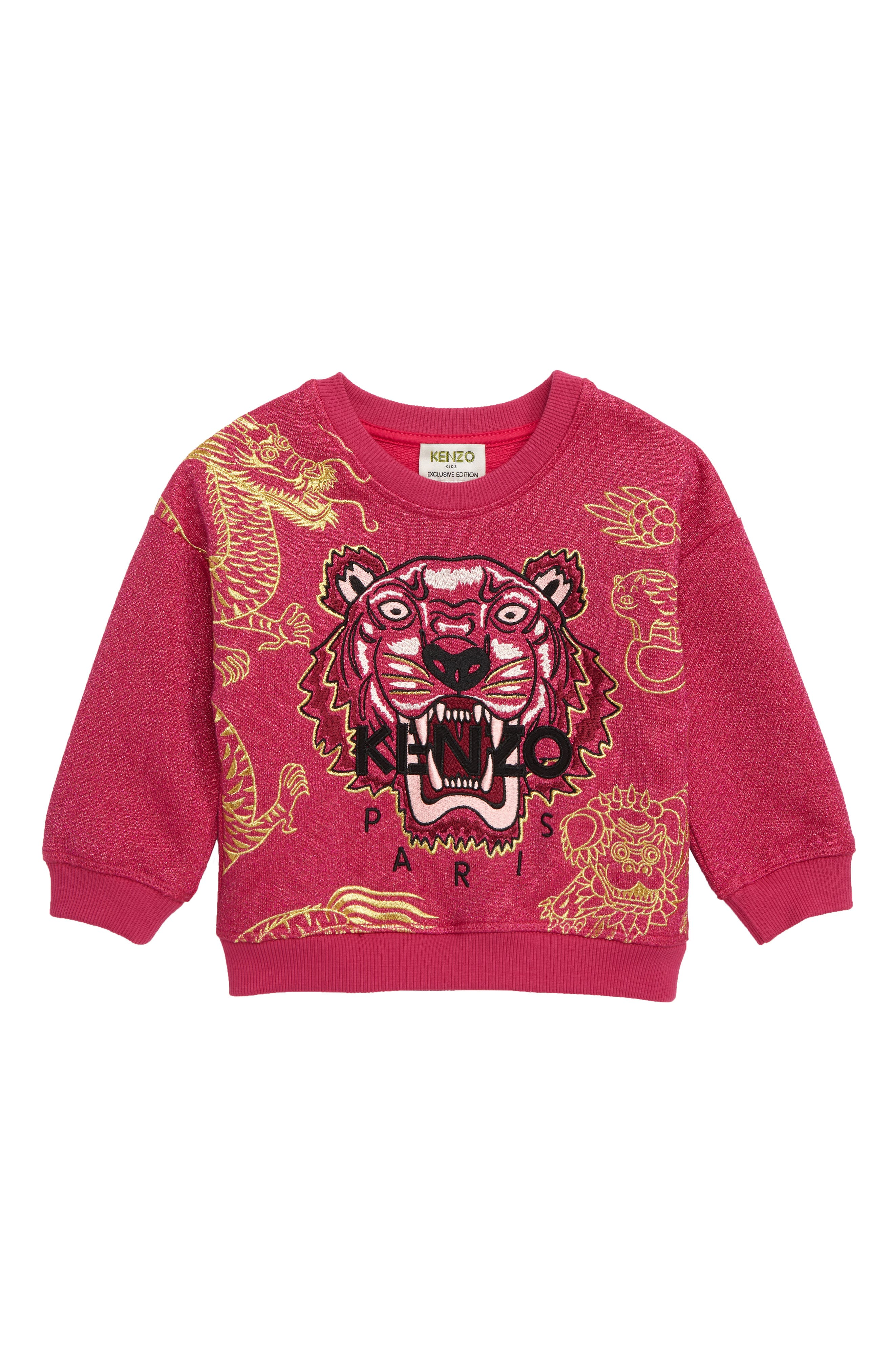 Girls Kenzo Year Of The Pig Glitter Sweatshirt Size 8Y  Pink