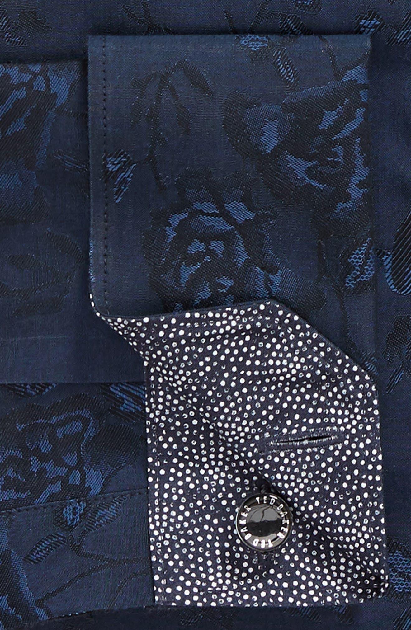 Wasabi Modern Fit Floral Dress Shirt,                             Alternate thumbnail 6, color,                             NAVY