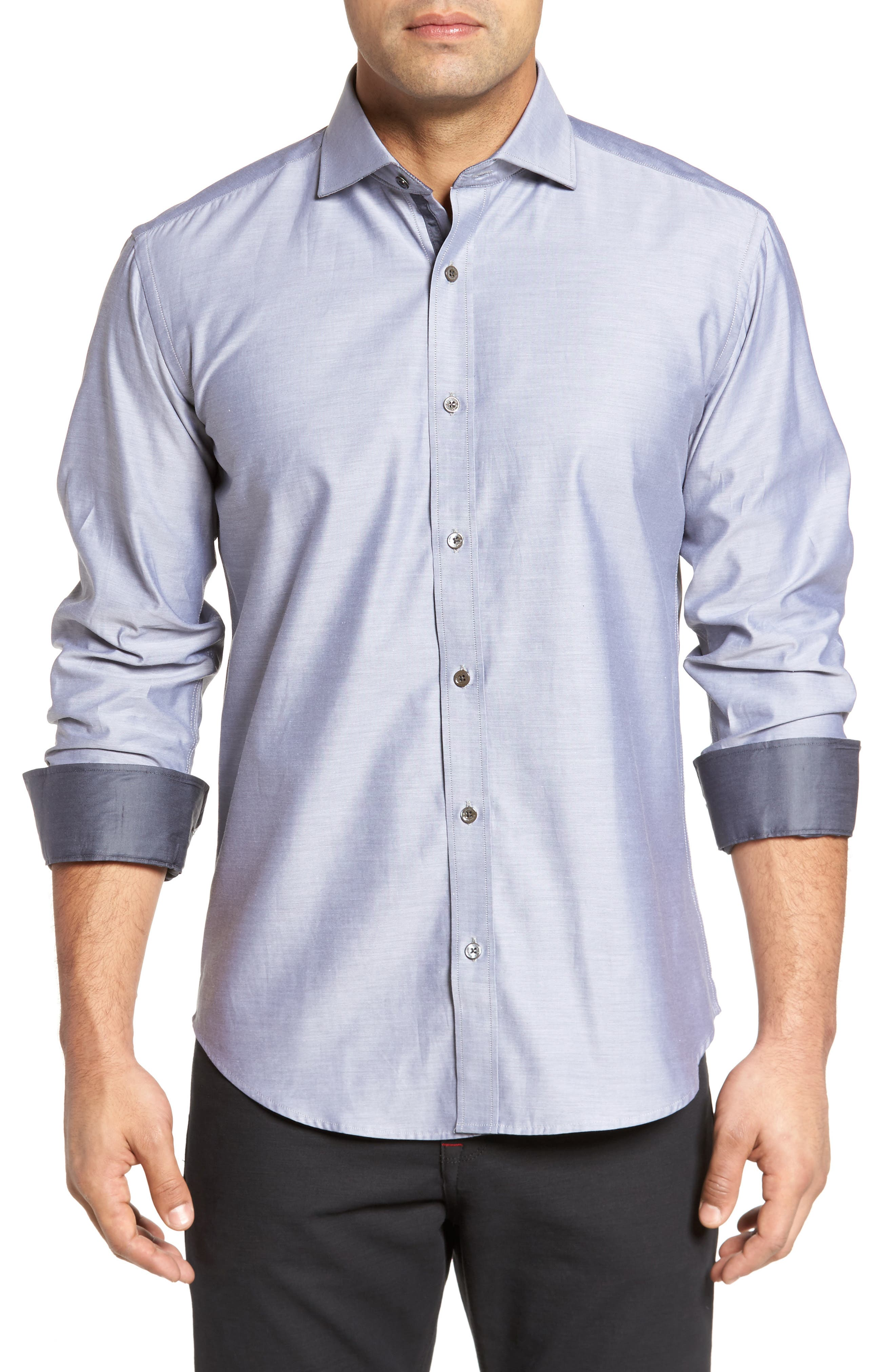 Trim Fit Solid Sport Shirt,                             Main thumbnail 1, color,