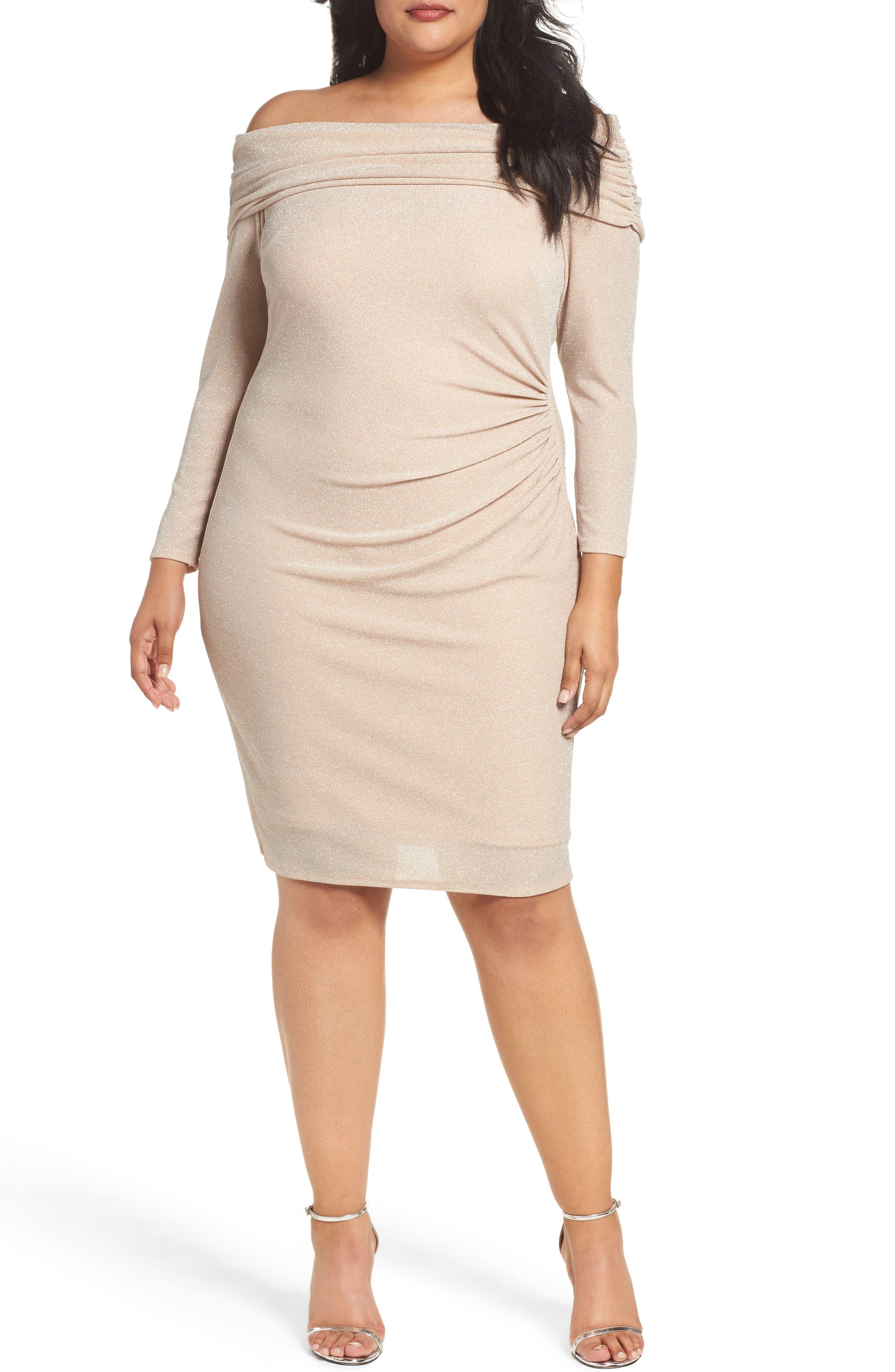 Off the Shoulder Metallic Knit Sheath Dress,                             Main thumbnail 1, color,                             684