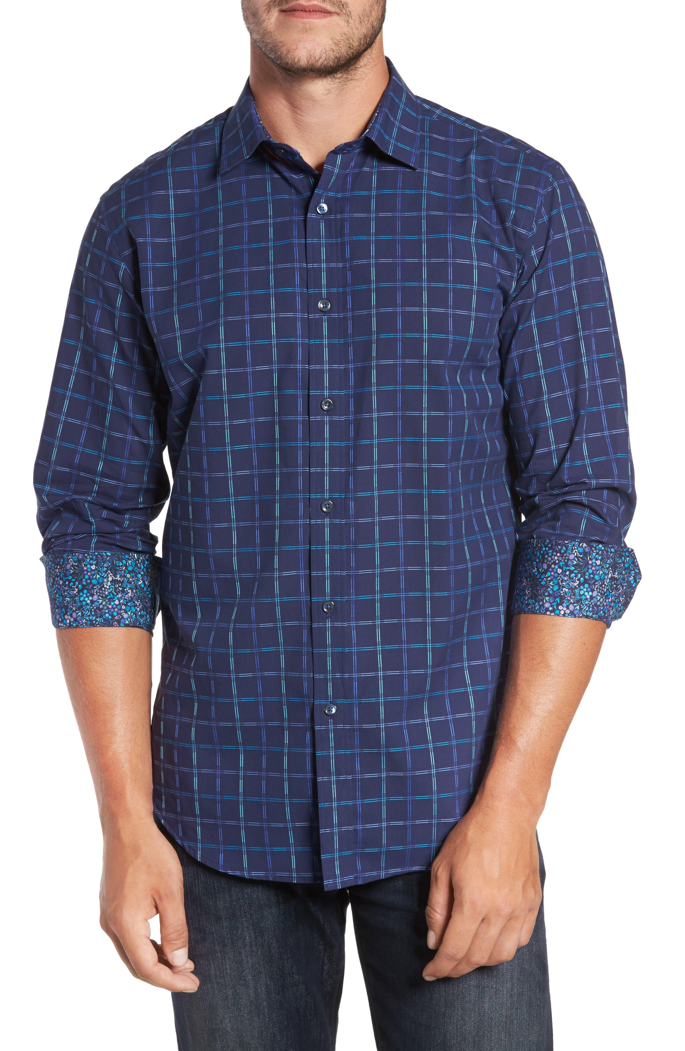 Trim Fit Tattersall Sport Shirt,                         Main,                         color, 410