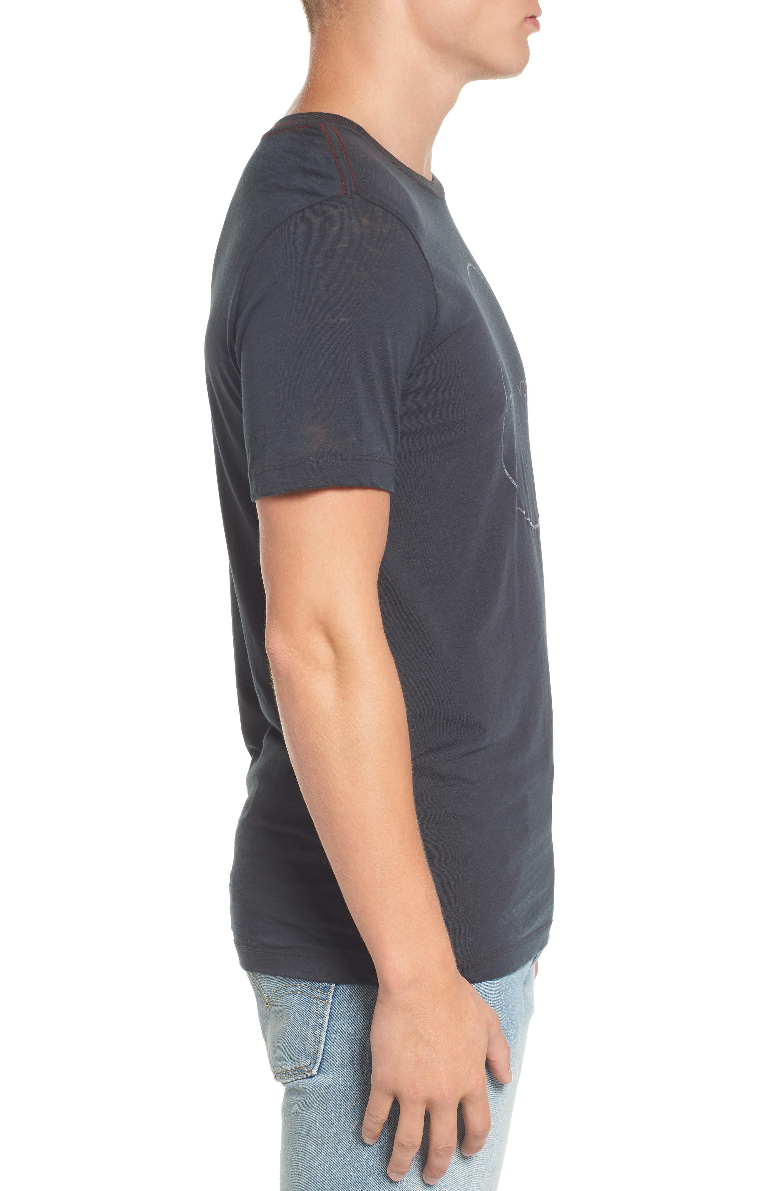 Flipped Perimeter Burnout T-Shirt,                             Alternate thumbnail 3, color,                             008