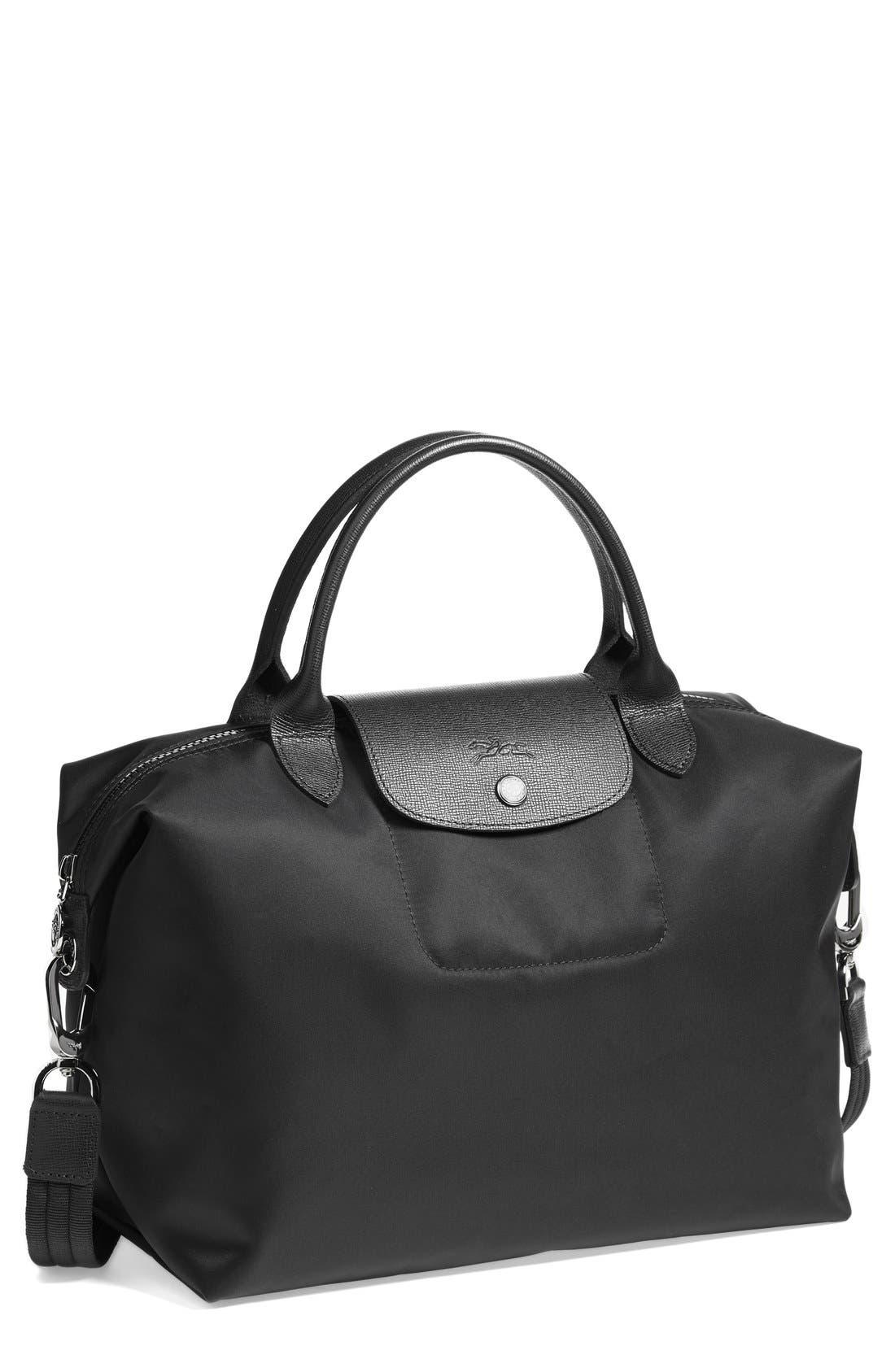 'Medium Le Pliage Neo' Nylon Top Handle Tote, Main, color, BLACK