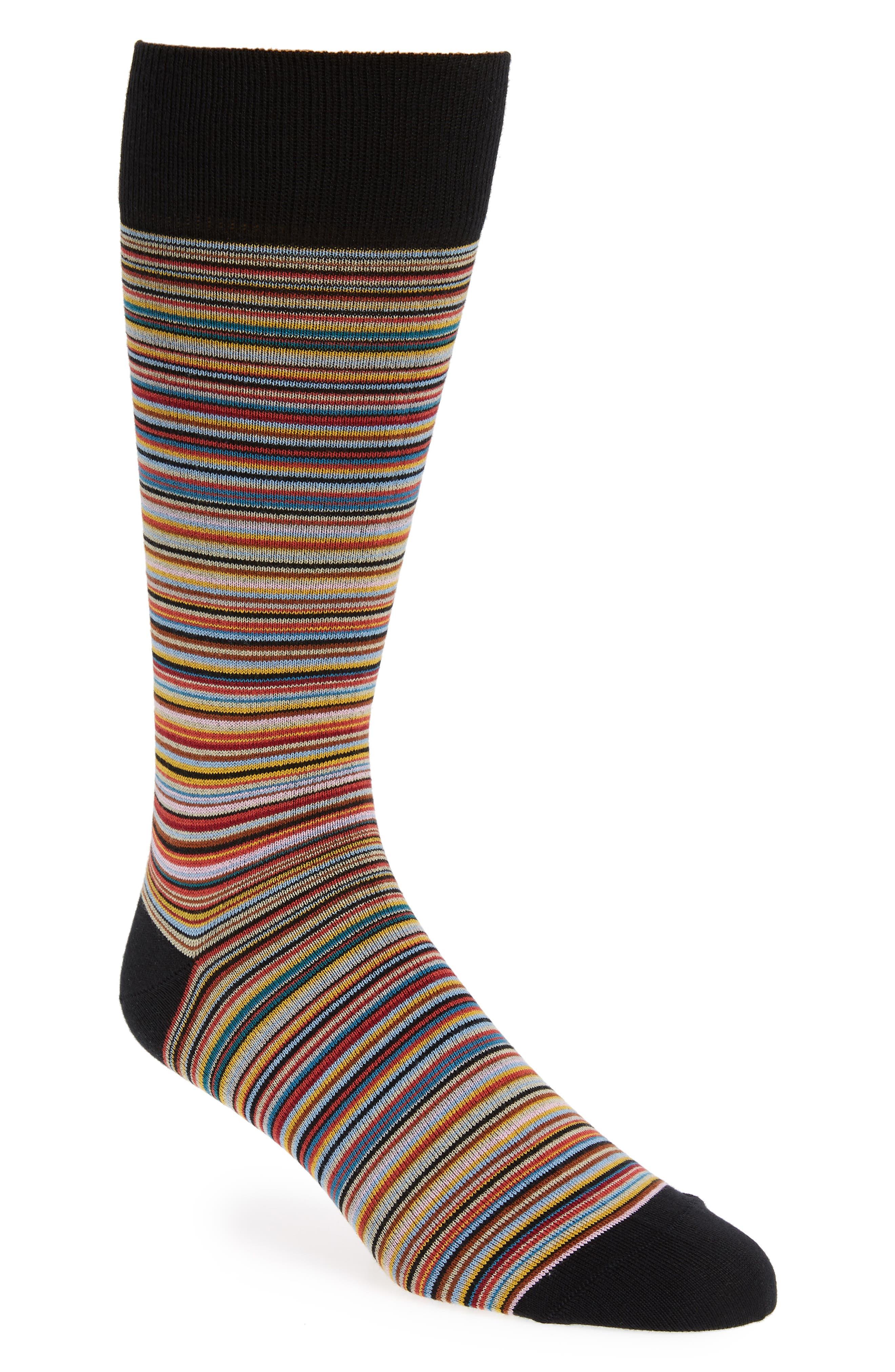 PAUL SMITH Stripe Crew Socks, Main, color, 001