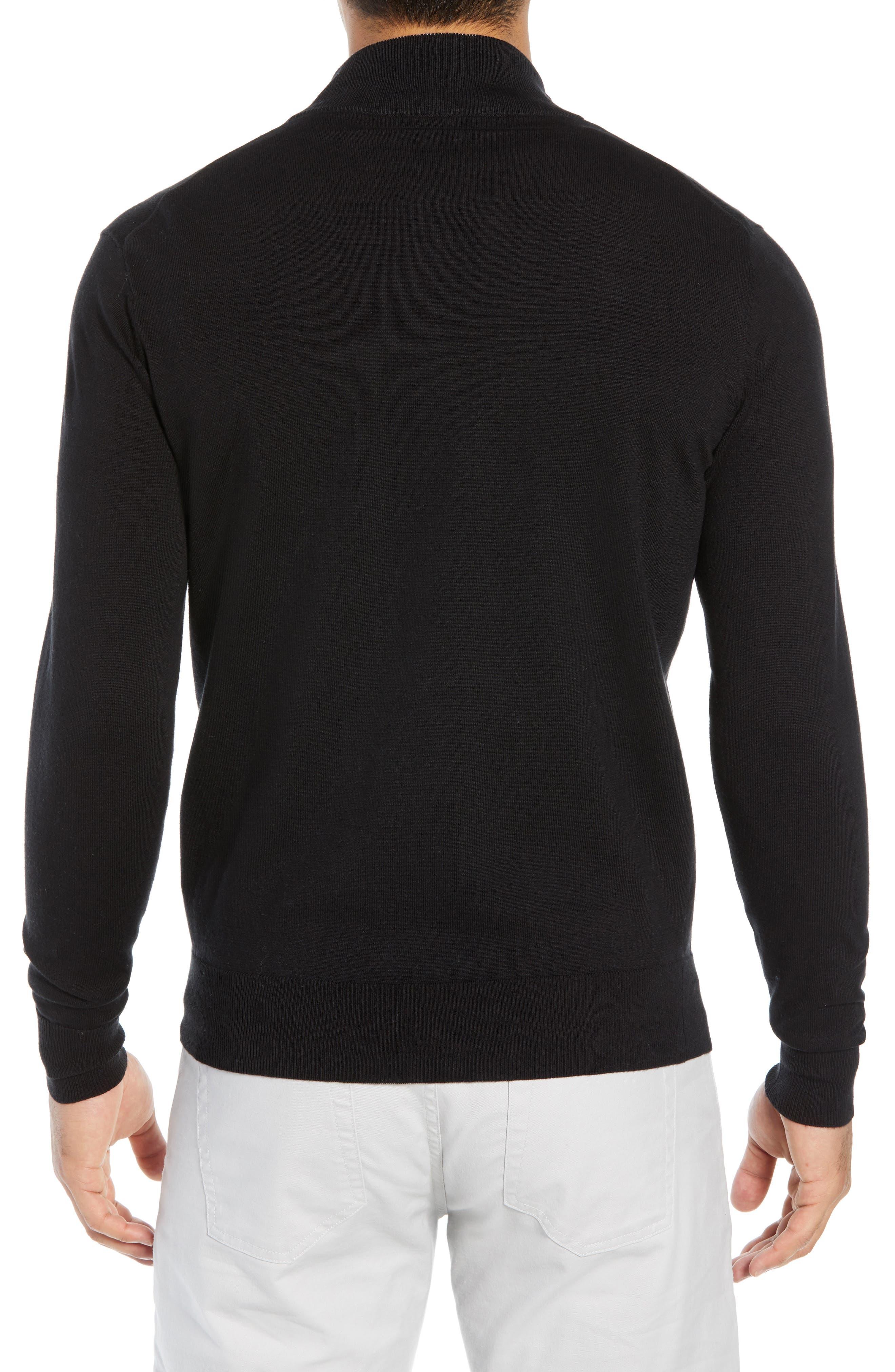 PETER MILLAR,                             Crown Quarter Zip Sweater,                             Alternate thumbnail 2, color,                             BLACK