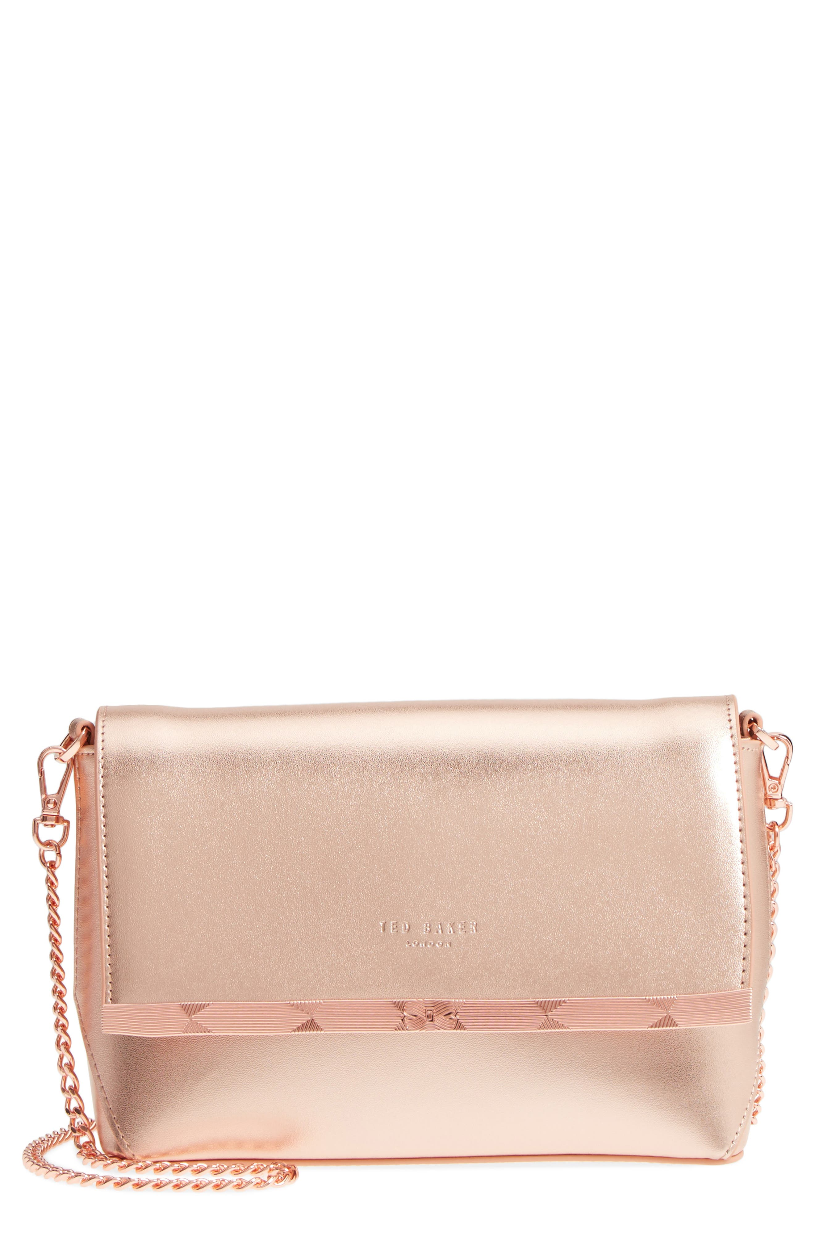 Bow Embossed Leather Crossbody Bag,                             Main thumbnail 2, color,