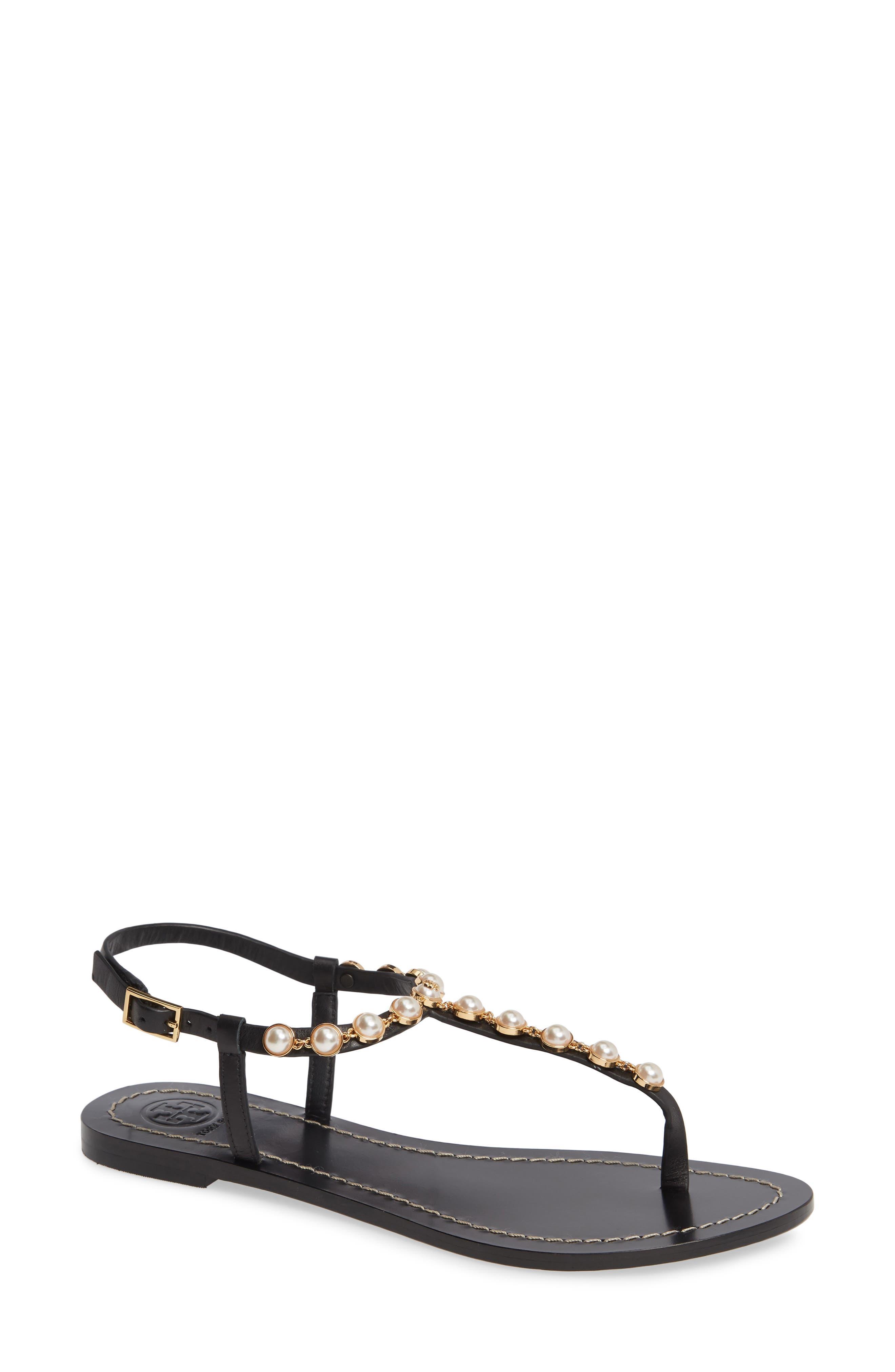 Emmy Embellished T-Strap Sandal in Perfect Black