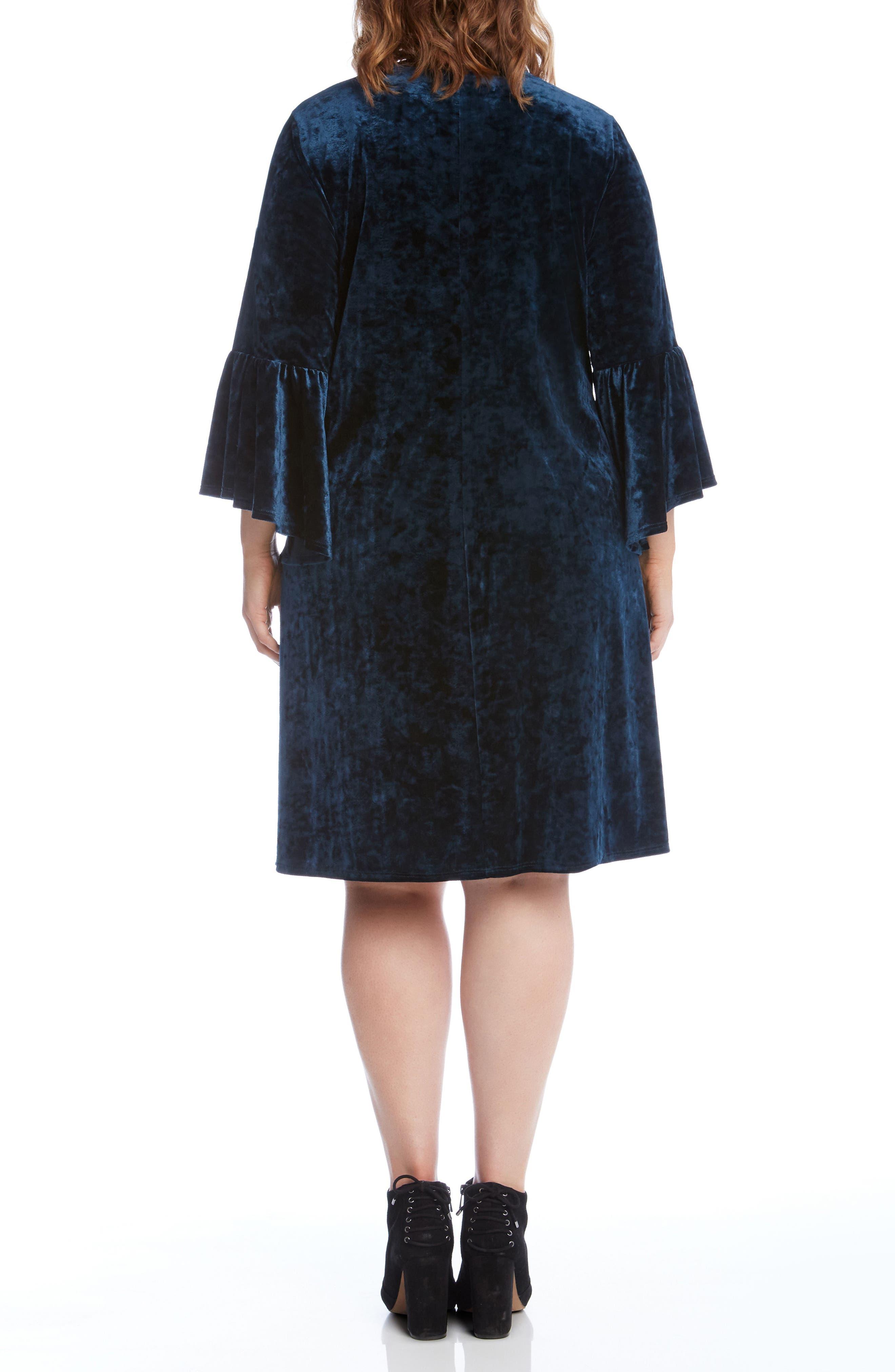 Bell Sleeve Velvet Dress,                             Alternate thumbnail 2, color,                             TEAL