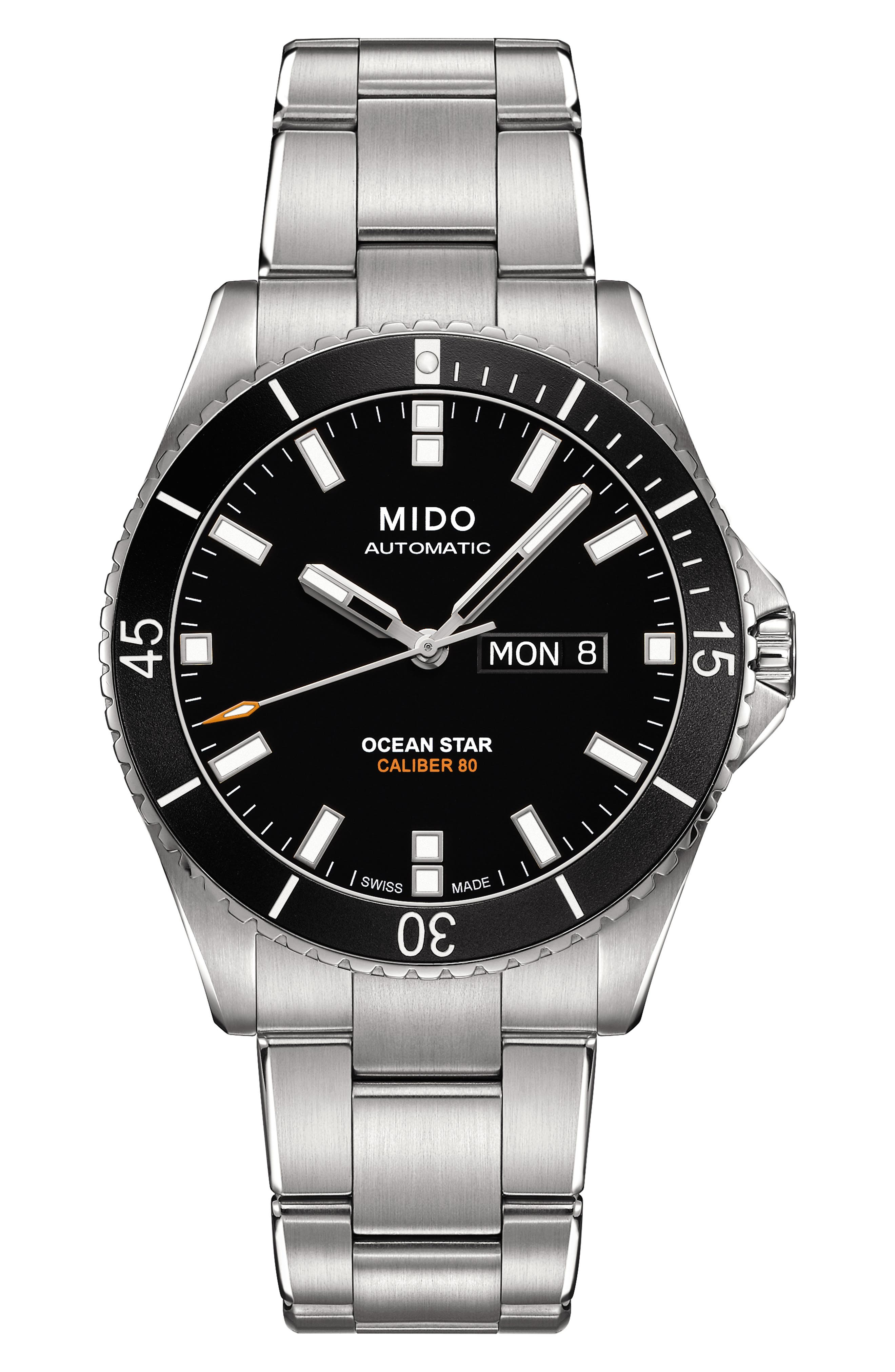 Ocean Star Automatic Bracelet Watch, 42.5mm,                         Main,                         color, SILVER/ BLACK/ SILVER