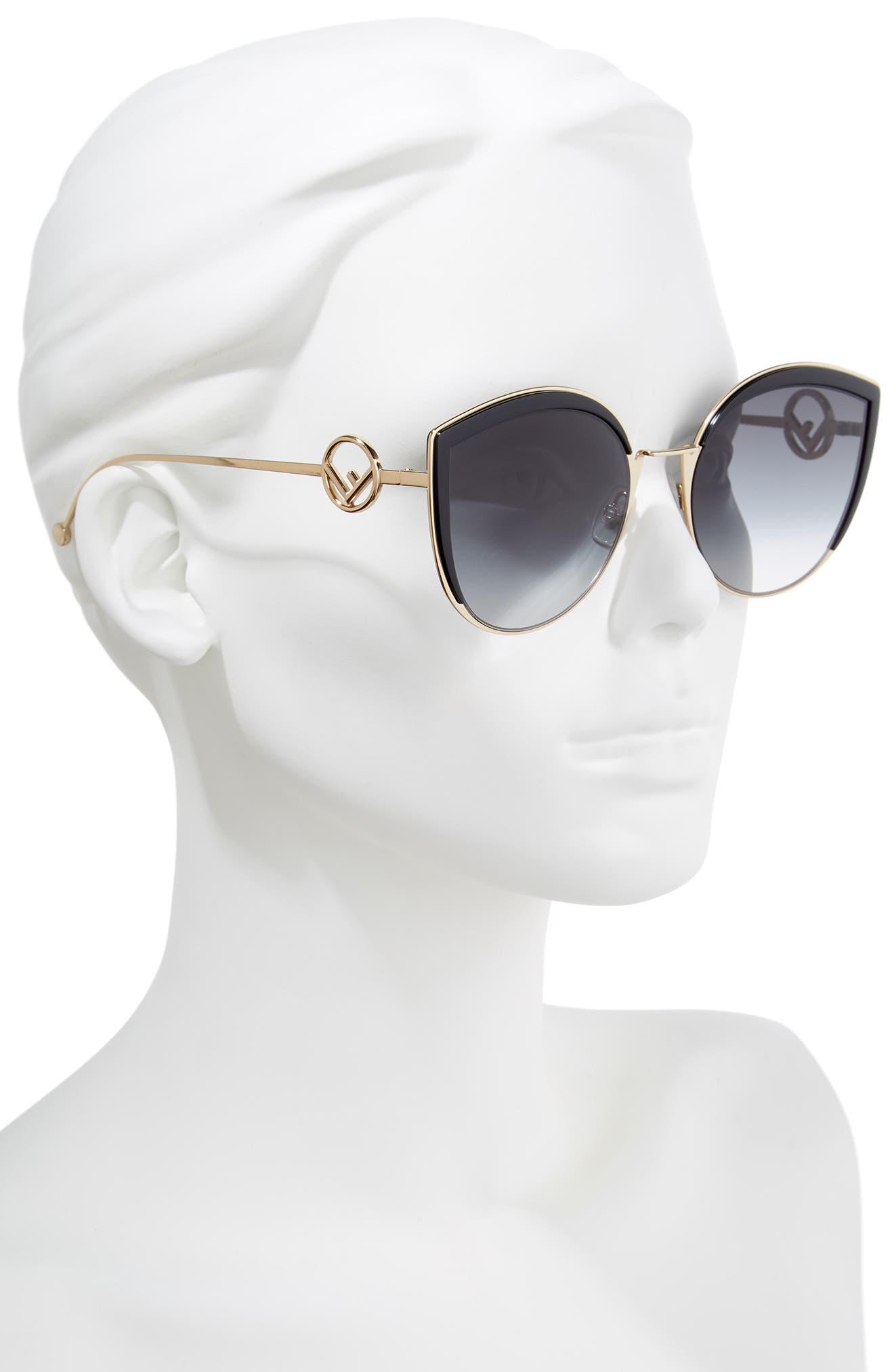 58mm Metal Butterfly Sunglasses,                             Alternate thumbnail 2, color,                             BLACK