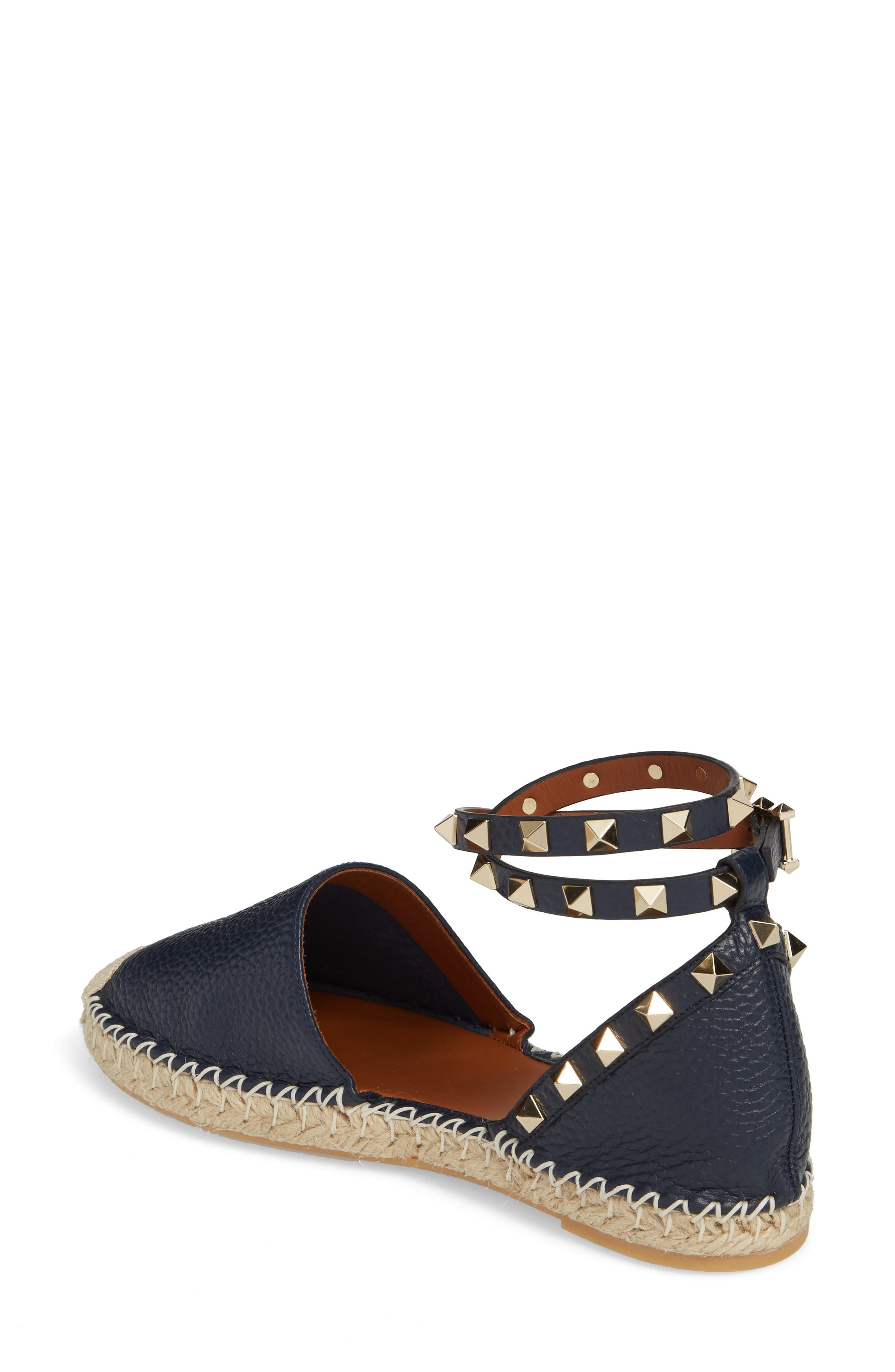 Rockstud Espadrille Flat,                             Alternate thumbnail 2, color,                             MARINE