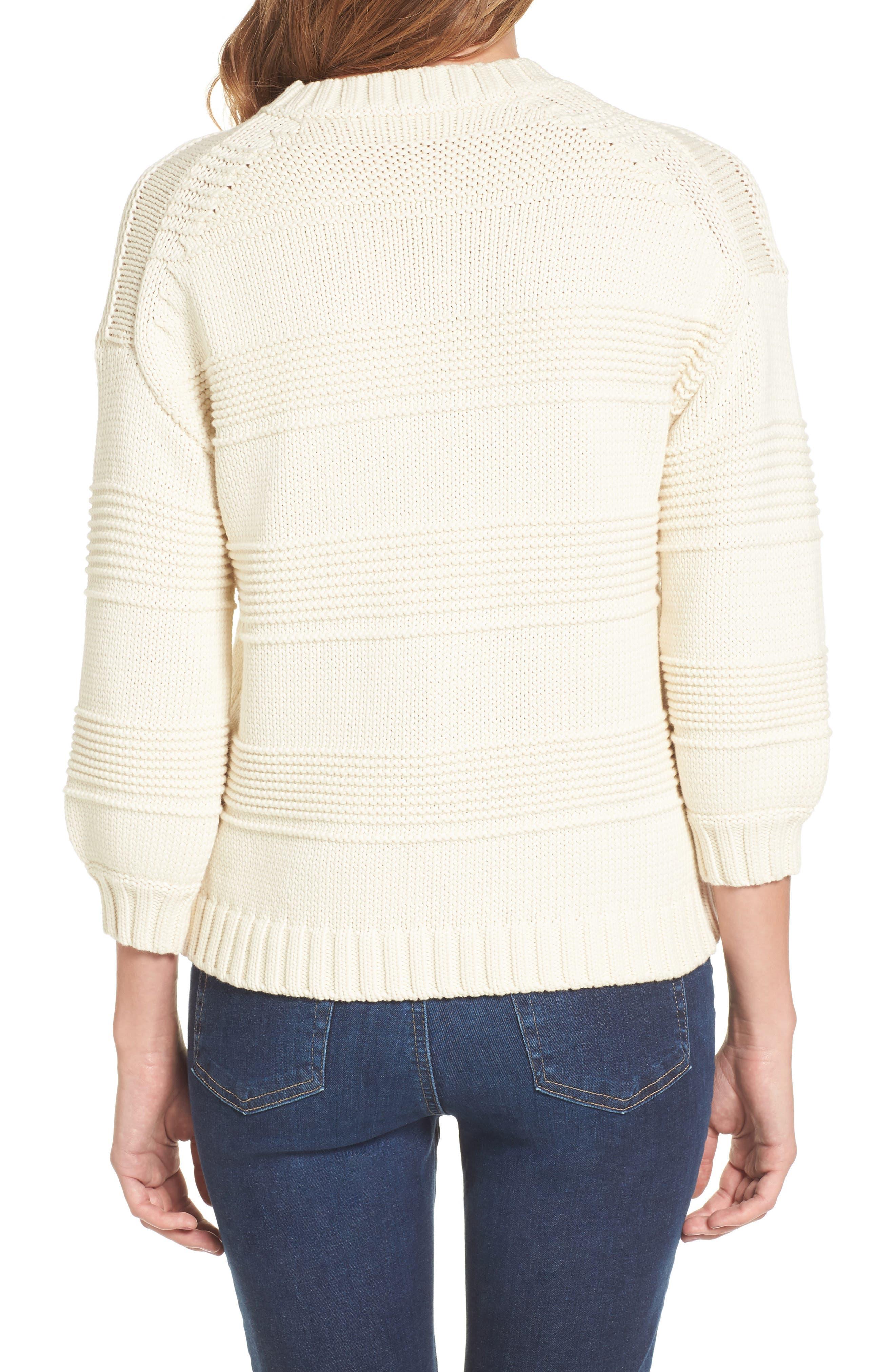 Sabrina Crewneck Sweater,                             Alternate thumbnail 2, color,                             BRIGHT CREAM