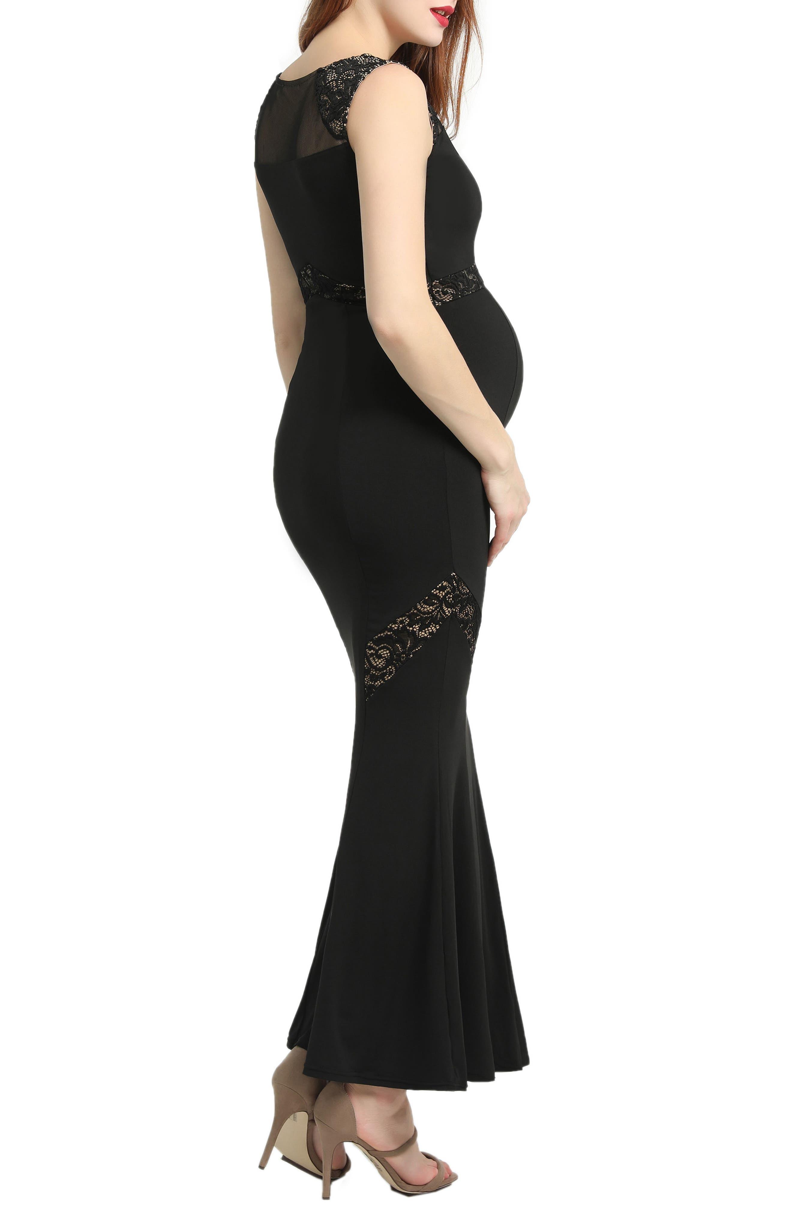 KIMI AND KAI,                             Corinne Lace Trim Maternity Mermaid Maxi Dress,                             Alternate thumbnail 3, color,                             BLACK