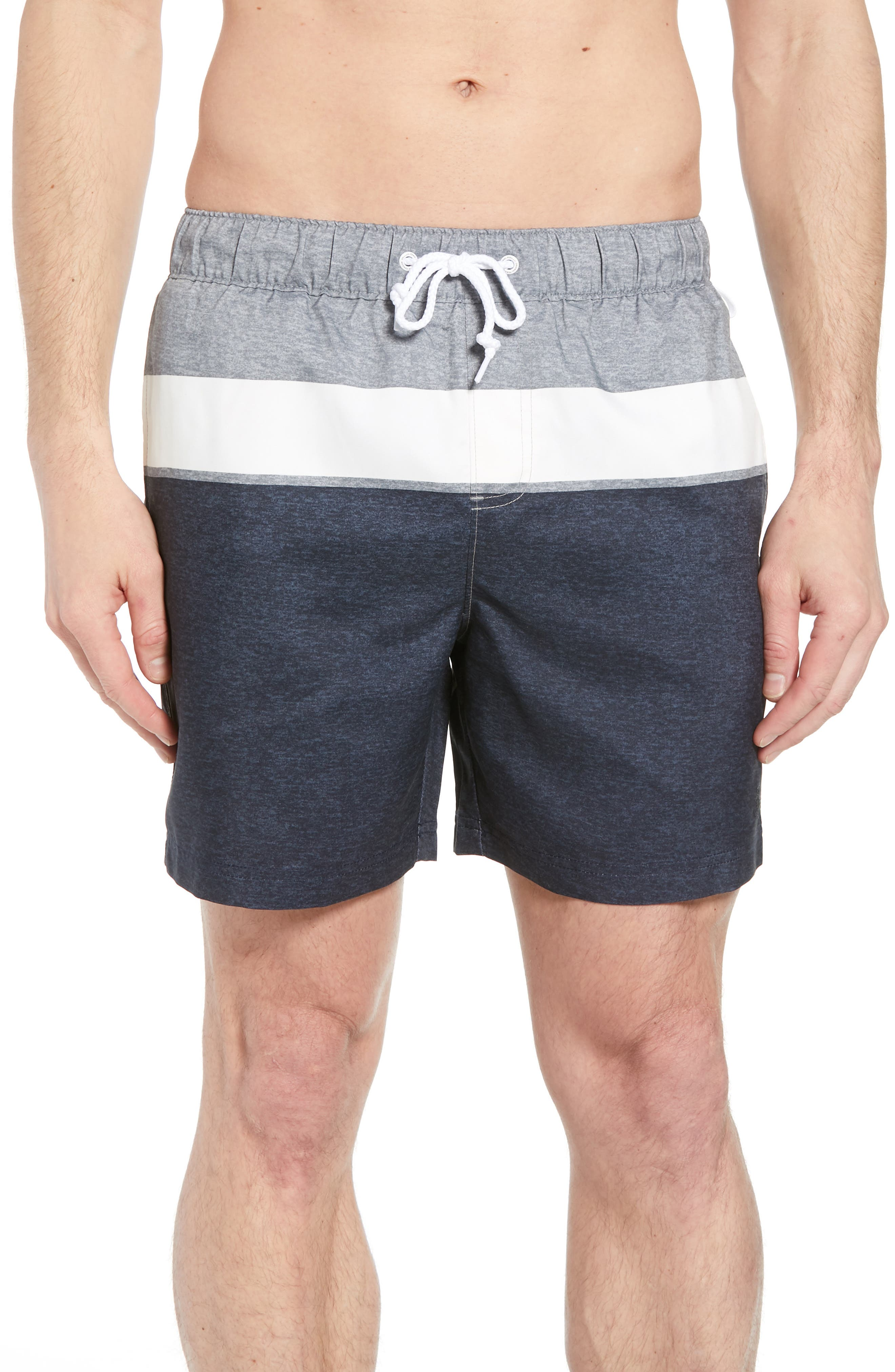 Heathered Colorblock Swim Trunks,                             Main thumbnail 1, color,                             413