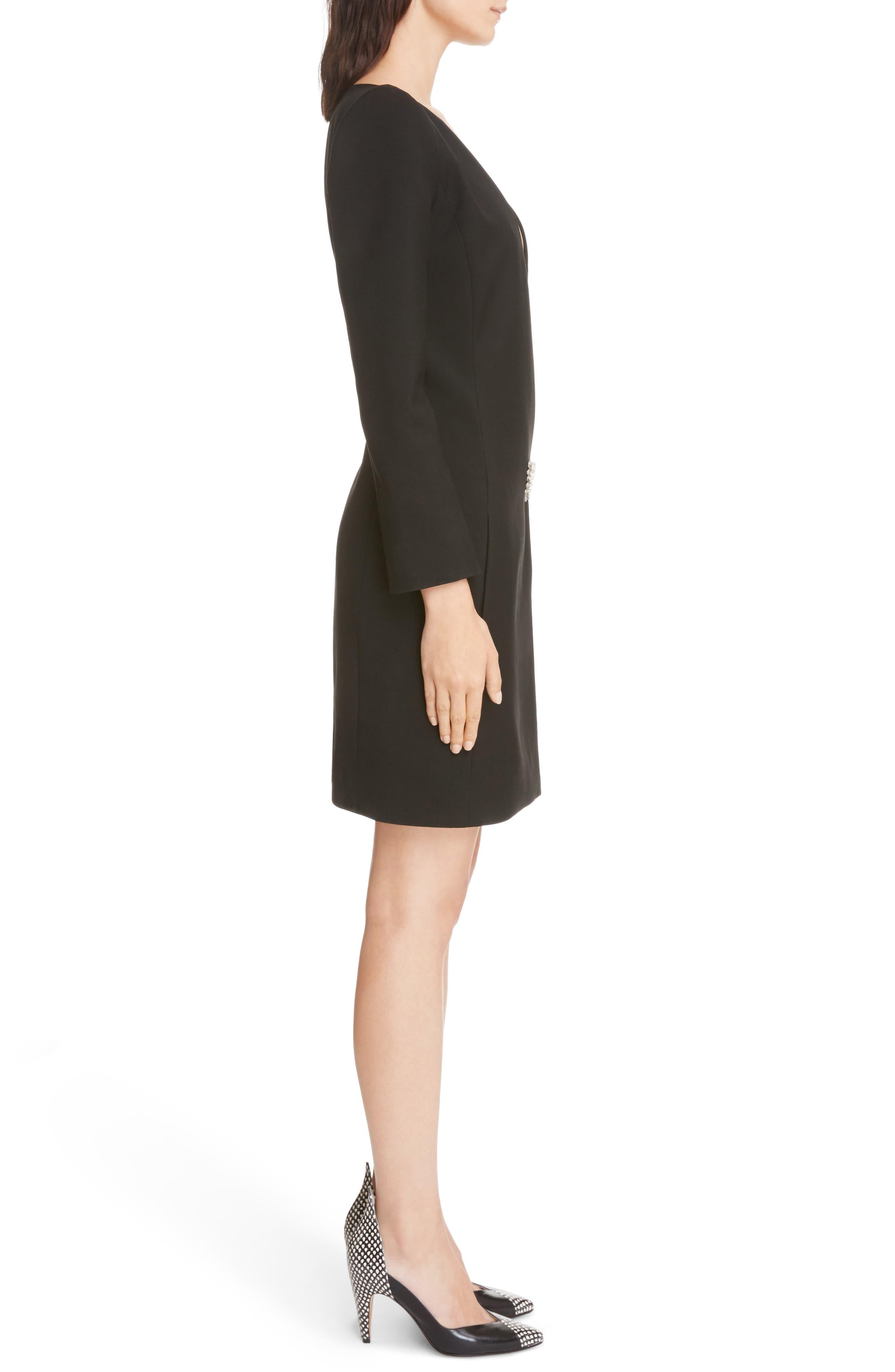 Wool & Mohair Brooch Detail Dress,                             Alternate thumbnail 3, color,                             001