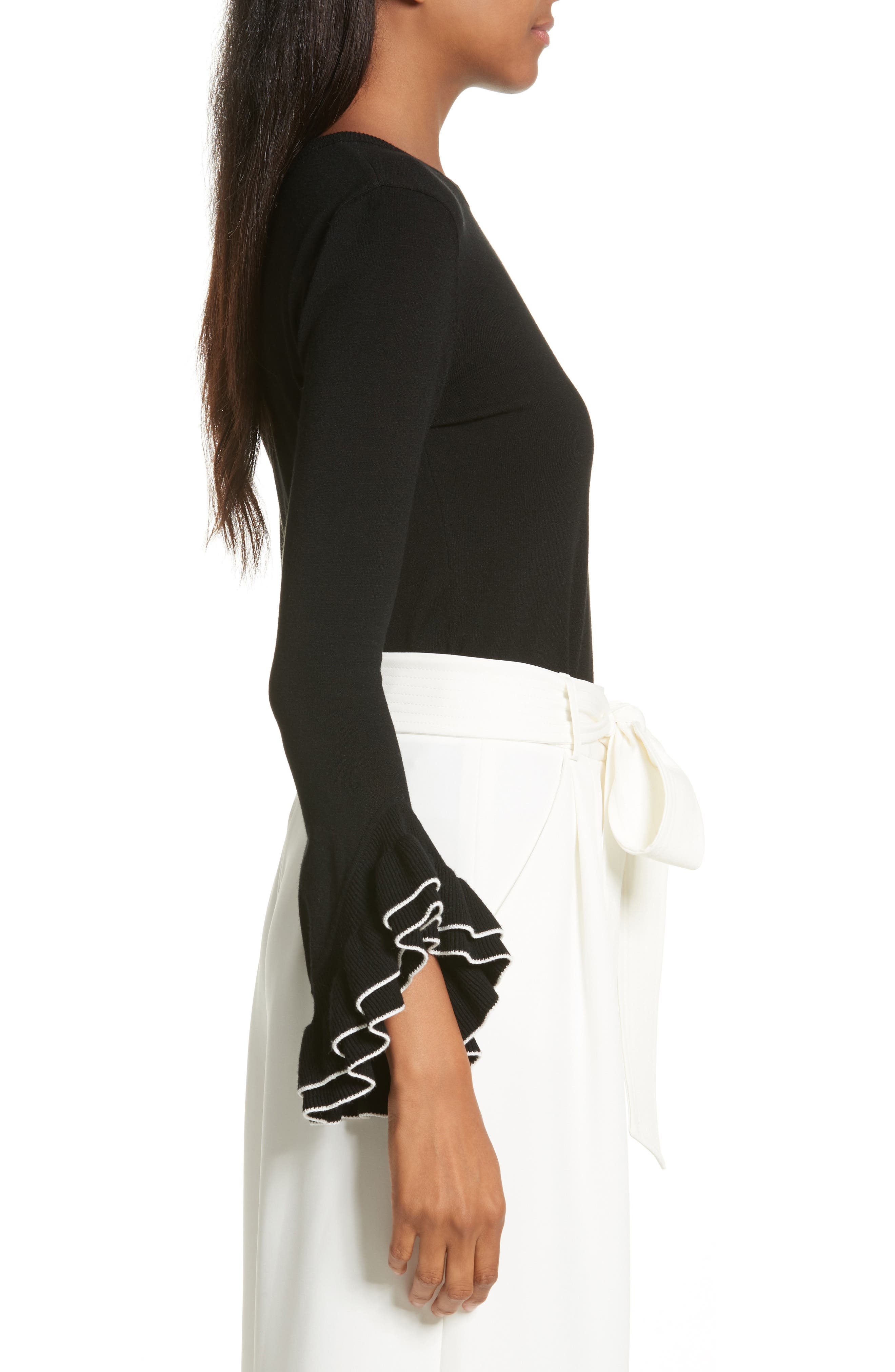 Tiered Ruffle Sleeve Sweater,                             Alternate thumbnail 5, color,